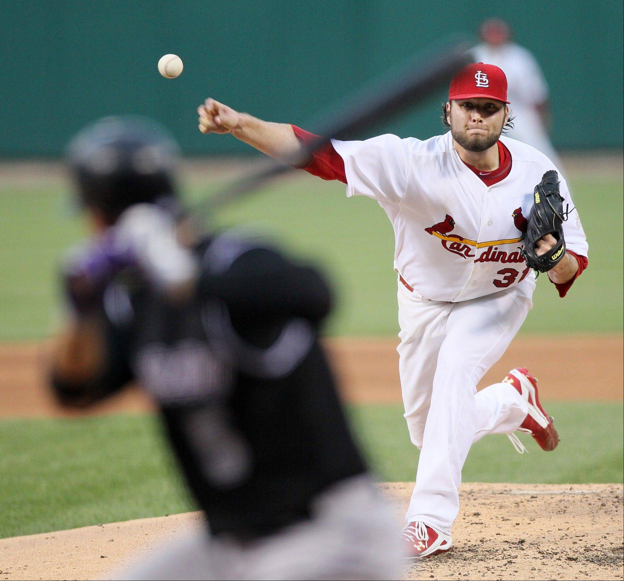 The Cardinals' Lance Lynn struck out seven Thursday at home against Colorado.