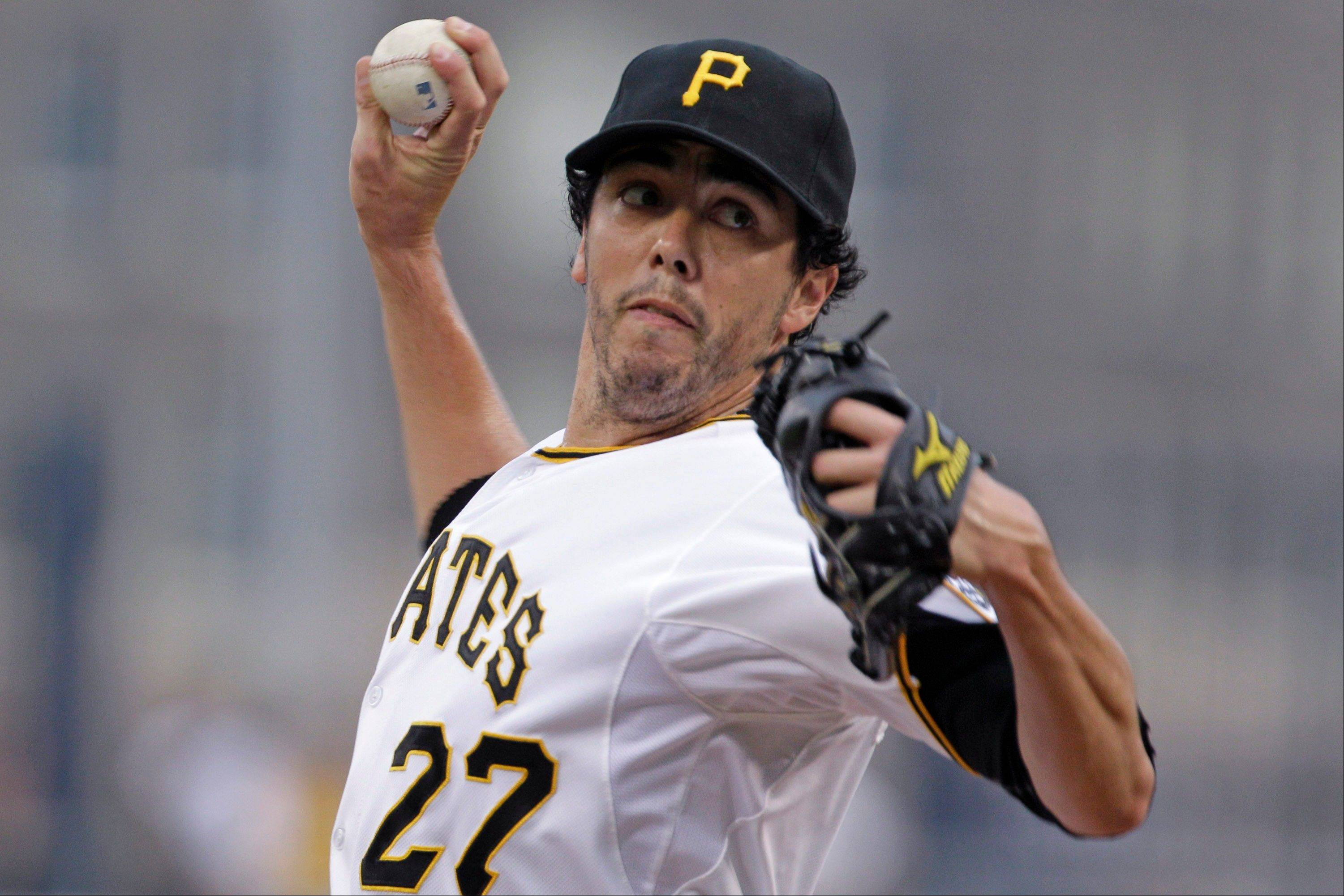 Pittsburgh Pirates pitcher Jeff Karstens delivers Thursday during the first inning against the Houston Astros in Pittsburgh.