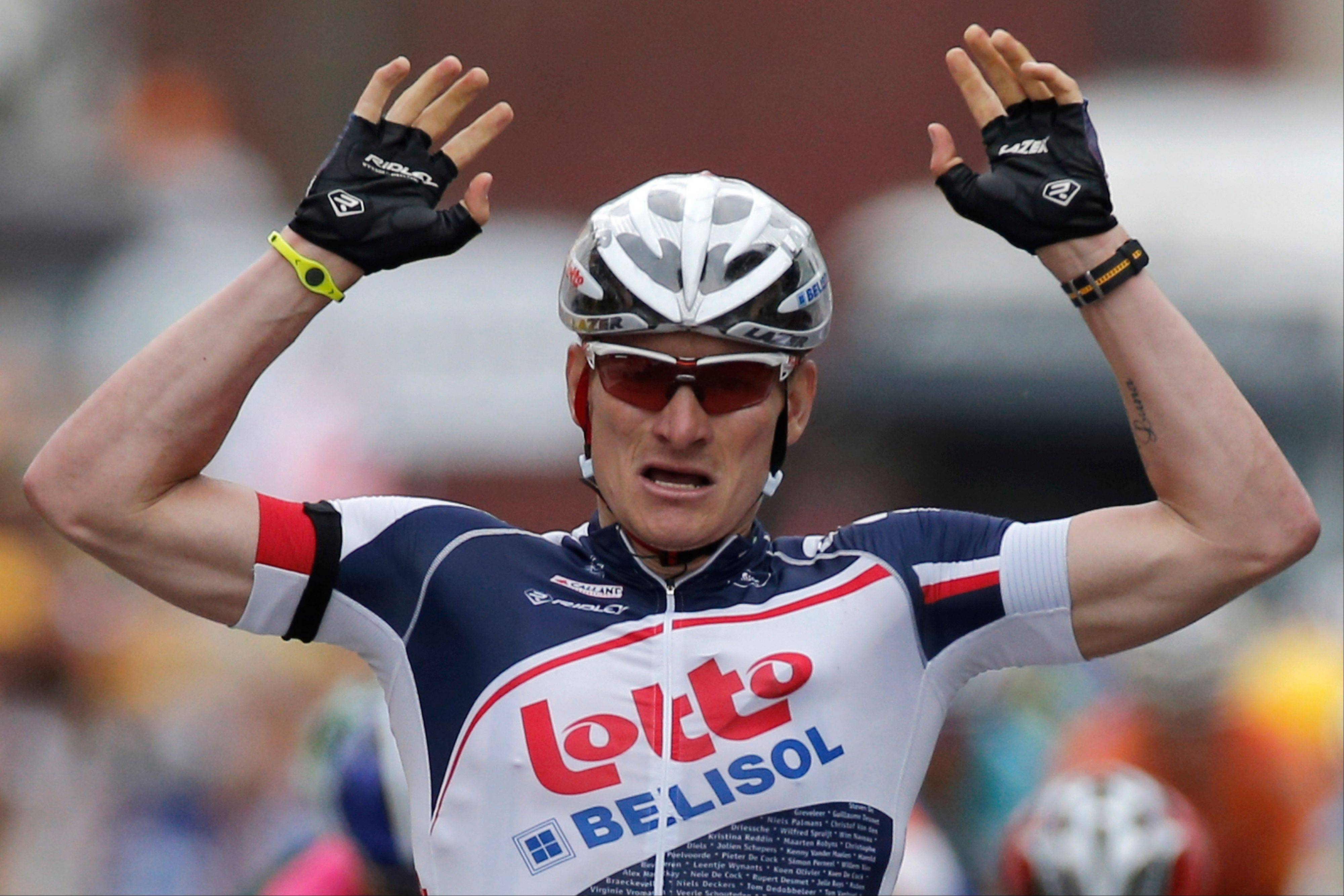 Andre Greipel crosses the finish line Thursday to win the fifth stage of the Tour de France.