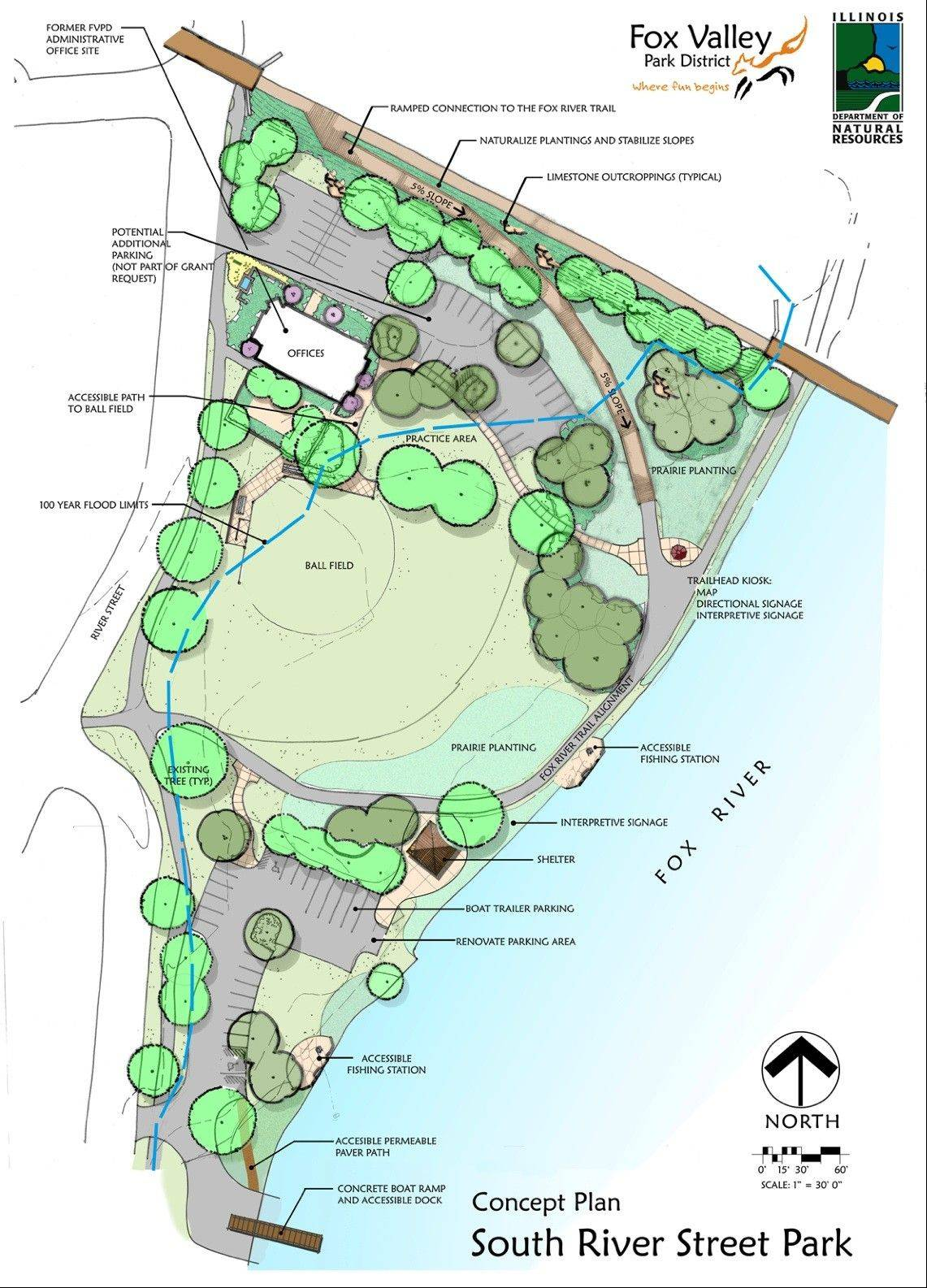 The Fox Valley Park District has been awarded a $217,200 grant by the Illinois Department of Natural Resources for the development of South River Street Park on the Fox River.