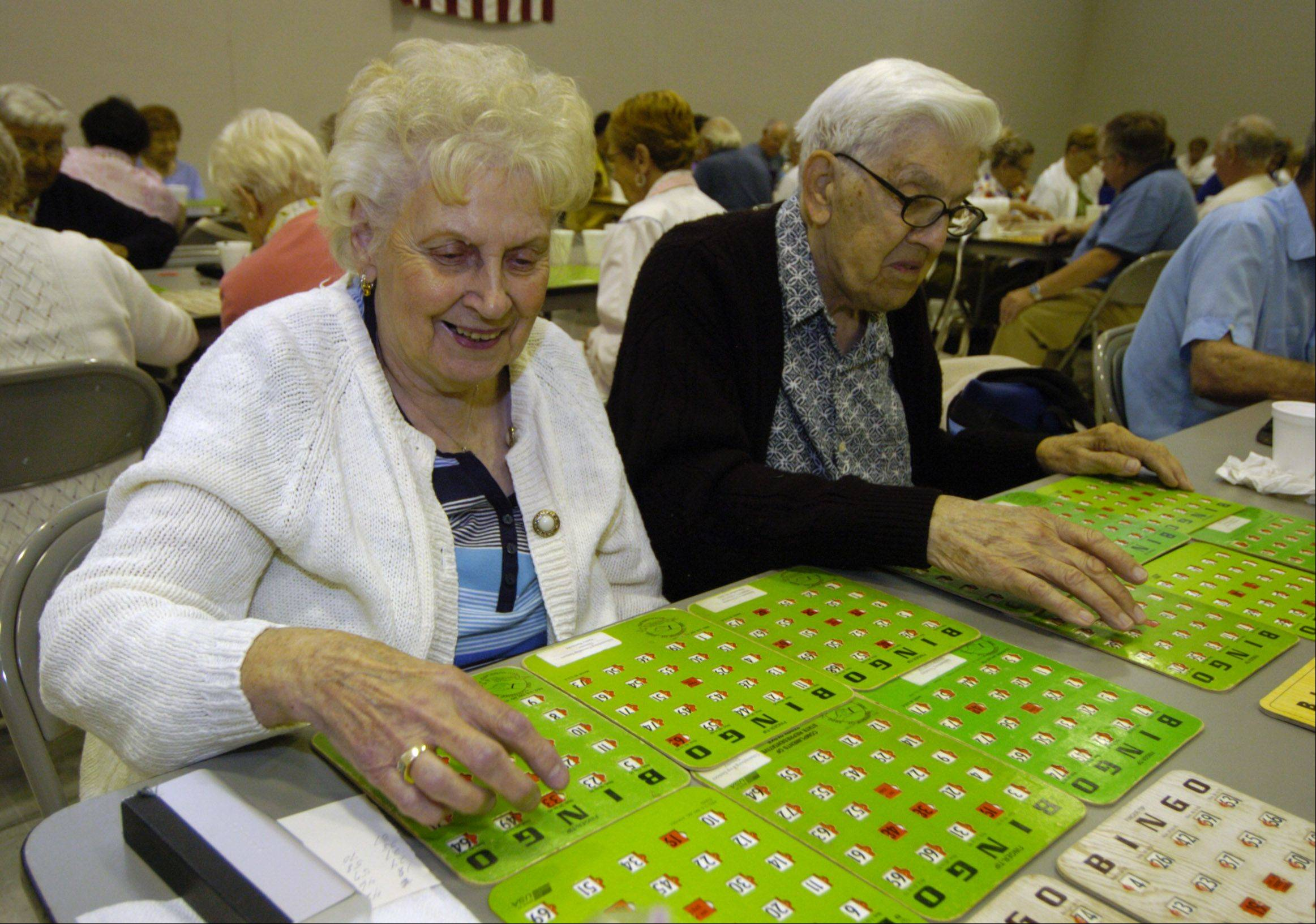 Dorothy Swiatek of Schaumburg and her husband, Henry, are among a group of seniors playing their weekly bingo game in the air-conditioned comfort of Schaumburg Township Hall Thursday.
