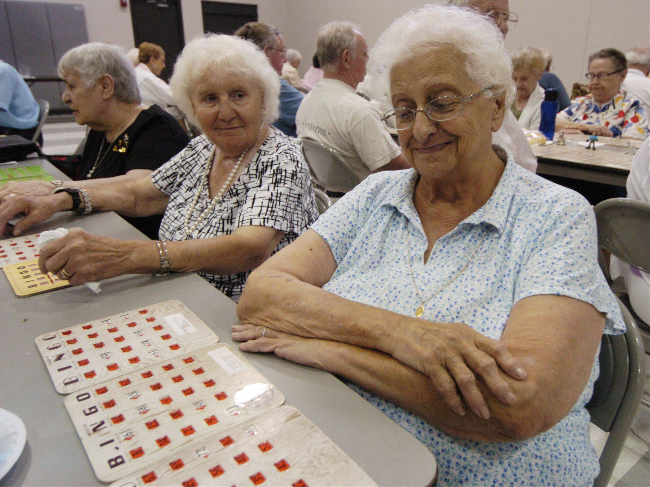 Lilian Petersen, right, of Hoffman Estates and Carmela Koblynski, of Schaumburg, are among the seniors playing bingo in the air-conditioned comfort of Schaumburg Township Hall Thursday.