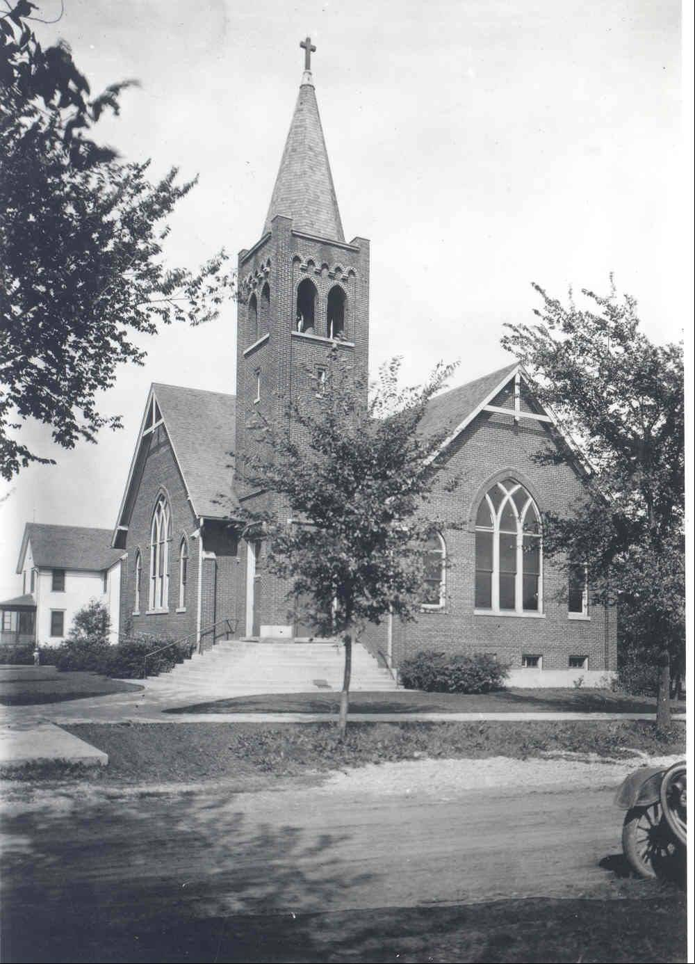 This is St. Paul Lutheran Church's first building, which opened in 1913. The congregation met in Central School after forming in 1912 until this building was completed.