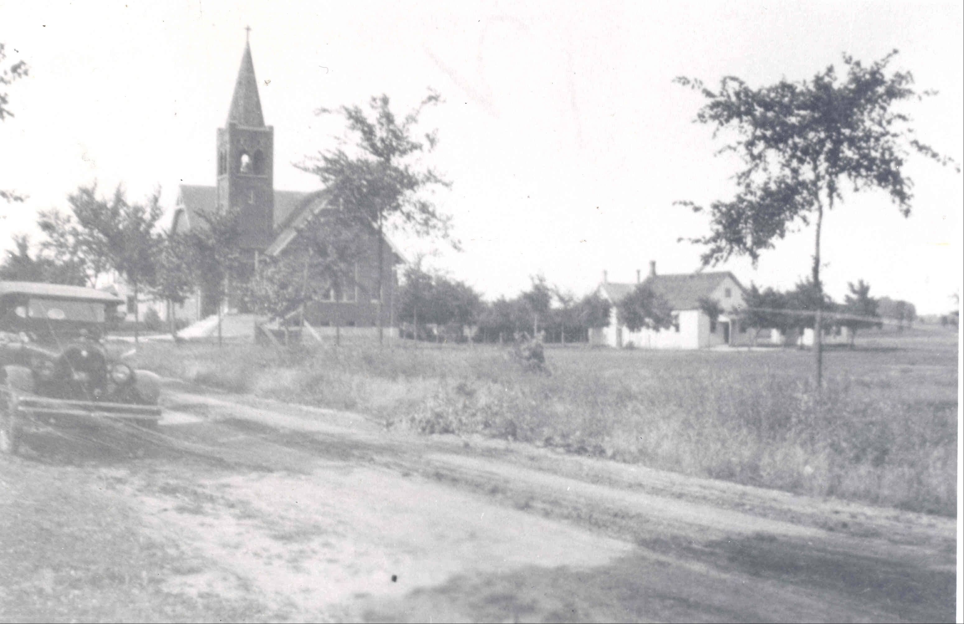 This is a view of St. Paul Lutheran Church in 1925, when it was still surrounded by farmland.
