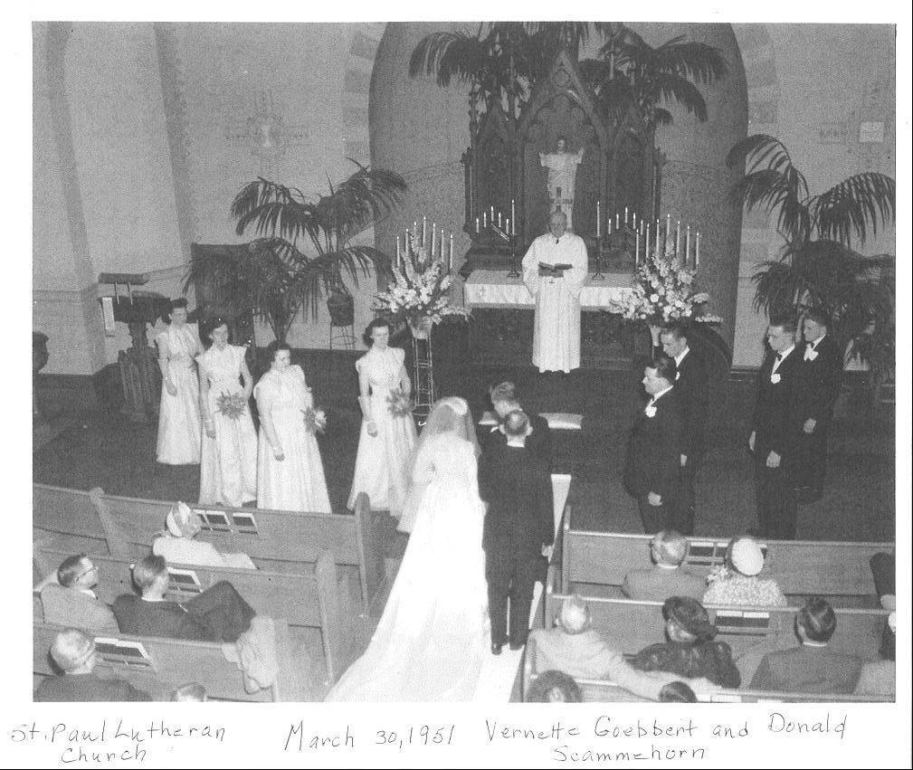 This is a wedding March 30, 1951, in the original St. Paul Lutheran Church. The current structure dates to 1961. The church turns 100 on Saturday.
