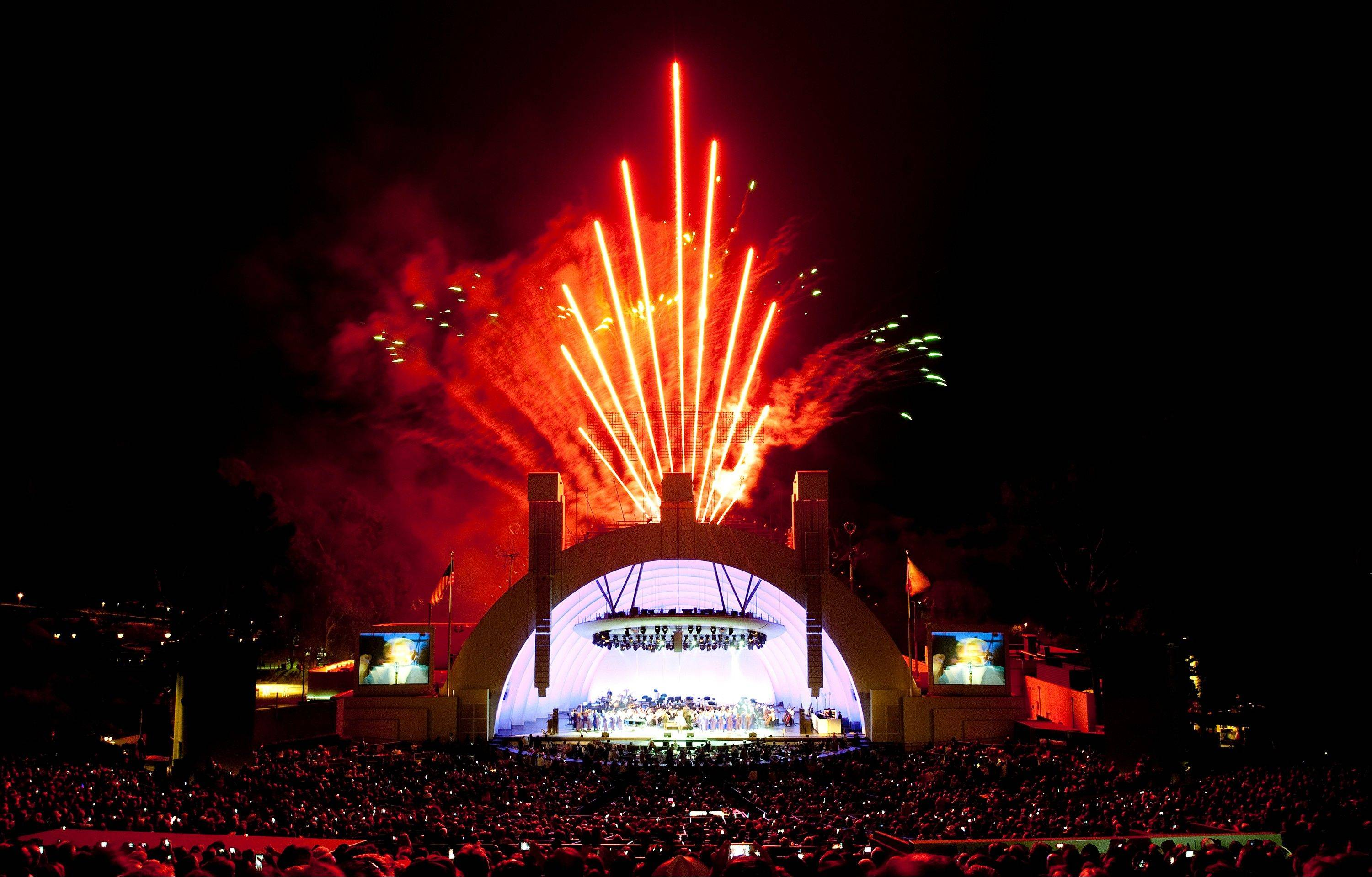 Fireworks explode over the Hollywood Bowl on July 3, 2012 in Los Angeles. The Hollywood Bowl puts on more than a dozen shows using pyrotechnics throughout the year.