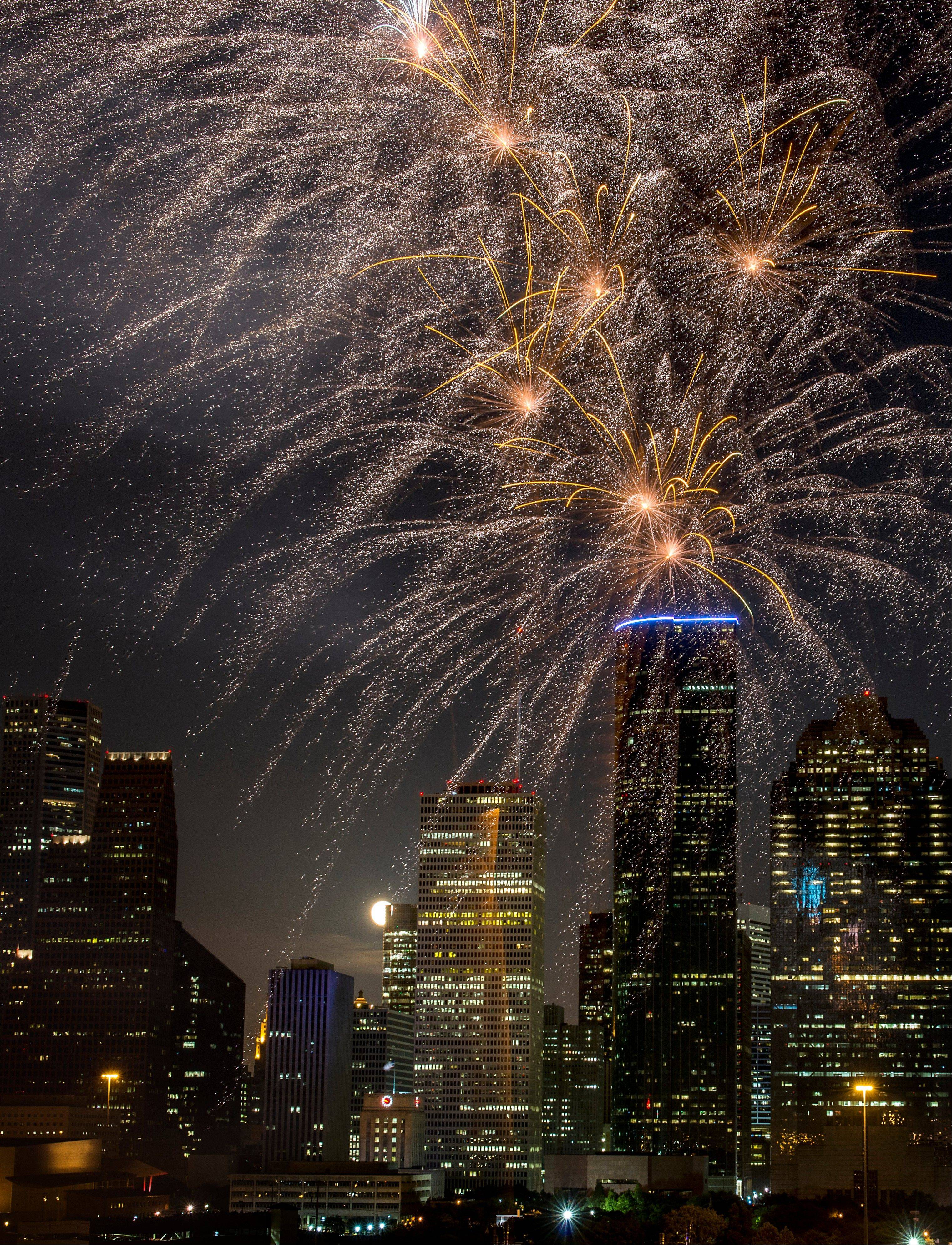 Fireworks light up the sky during the Freedom Over Texas annual Fourth of July celebration on Wednesday, July 4, 2012, in Houston.