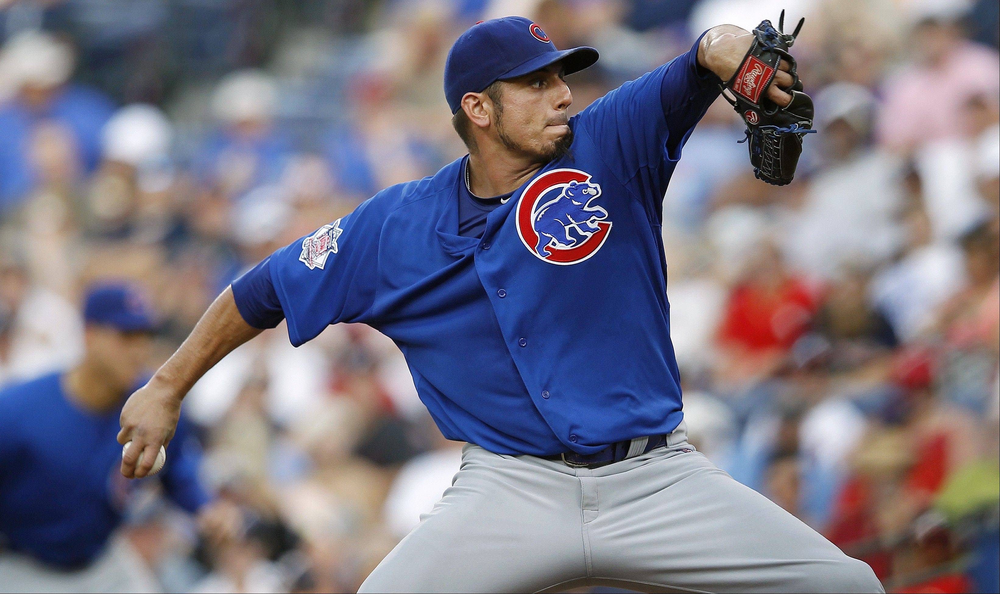 Cubs starting pitcher Matt Garza works Thursday during the first inning against the Atlanta Braves in Atlanta.
