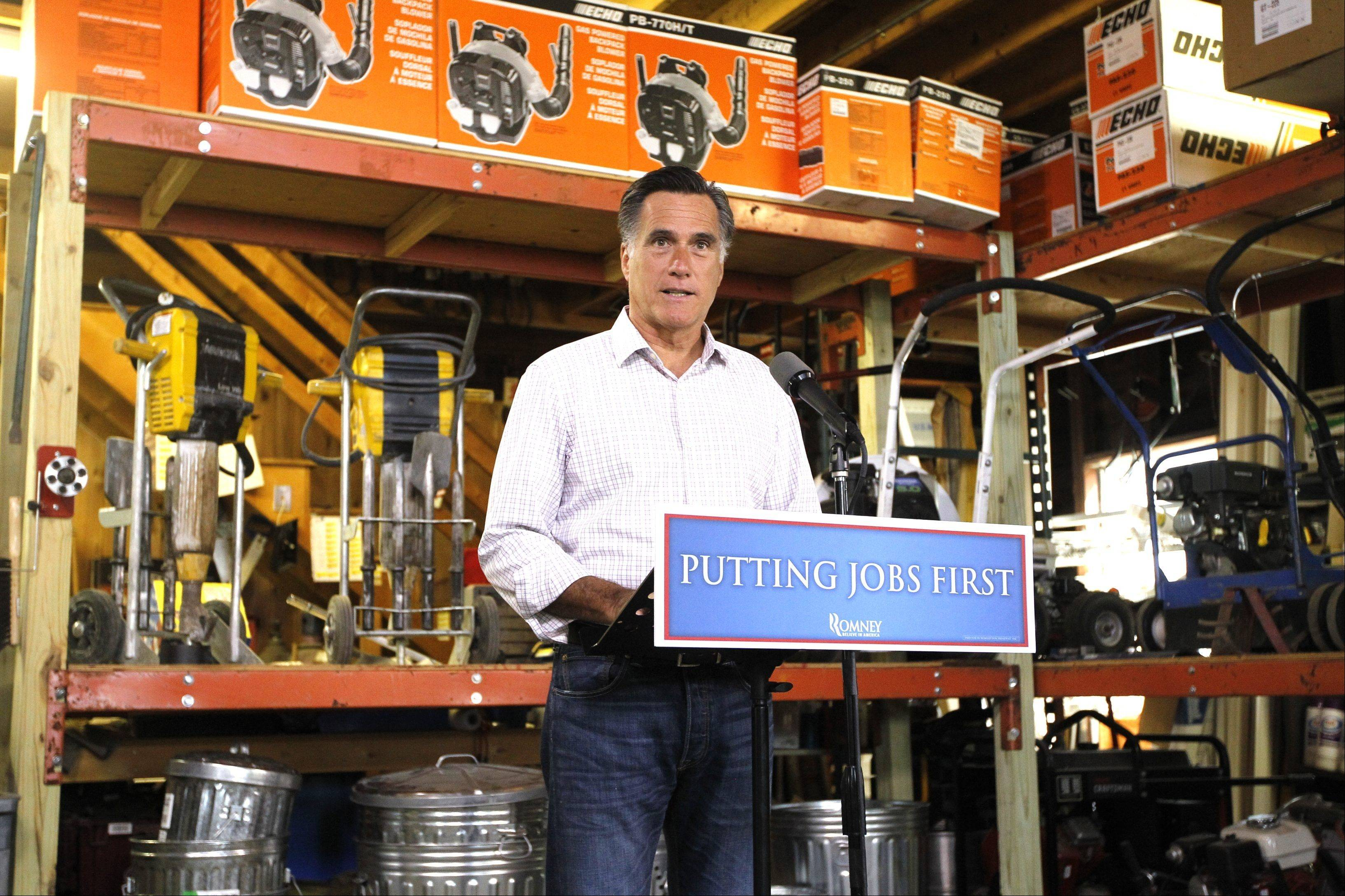 Republican presidential candidate, former Massachusetts Gov. Mitt Romney speaks about job numbers, Friday, July 6, 2012, at Bradley's Hardware in Wolfeboro, N.H.