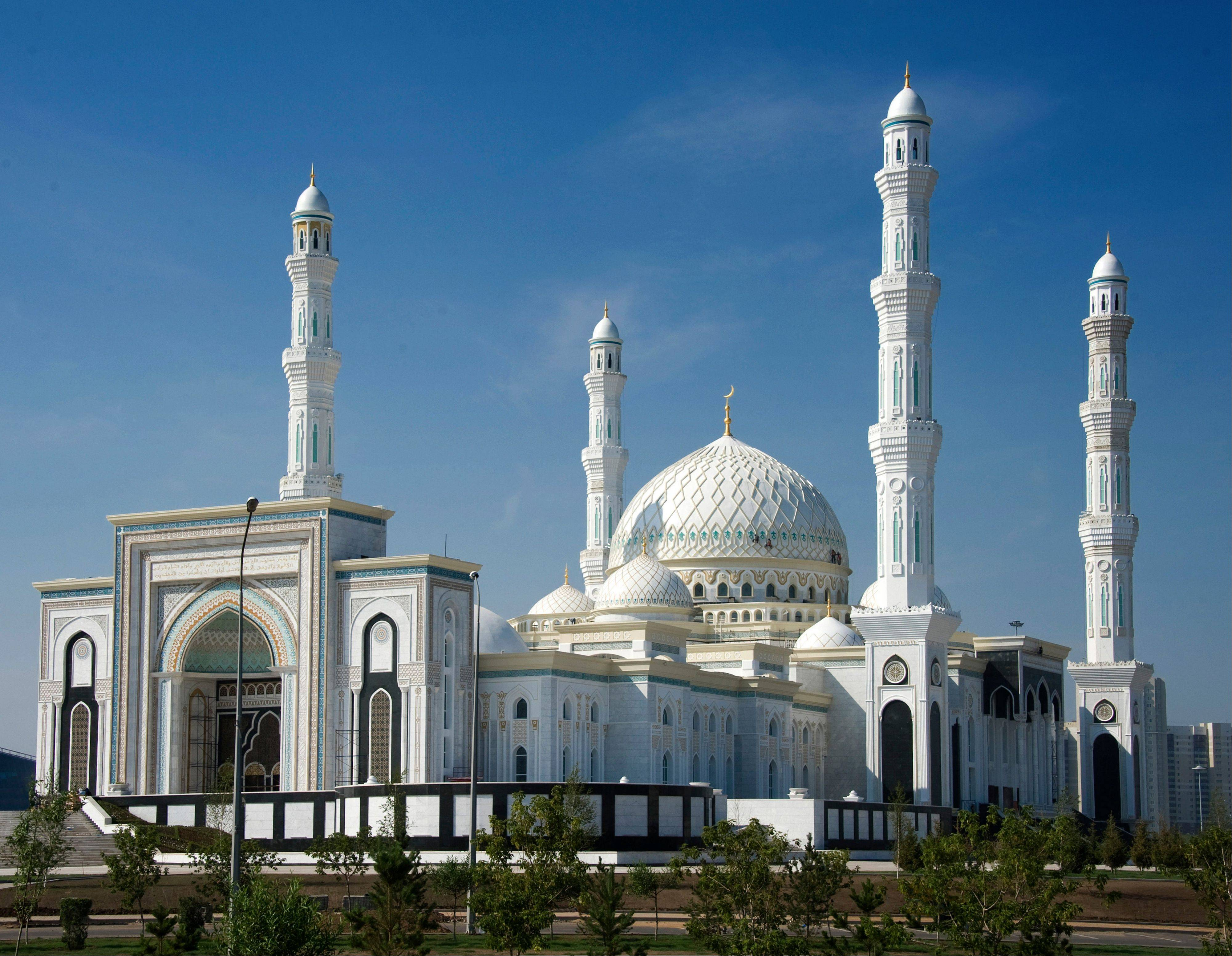 Kazakhstan's Hazrat Sultan Mosque — the largest mosque in Central Asia — has opened just six months after the building was damaged in a fire during which a construction worker died. The mosque spans an area of 188,000 square feet, and is topped by a 167-foot central dome and eight smaller domes.