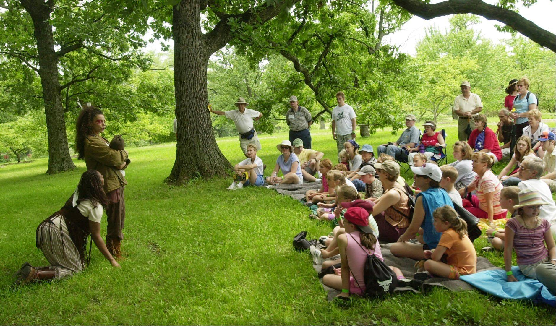 Theatre-Hikes performs shows outdoors at Morton Arboretum, using natural settings as a backdrop for the action. Audiences follow the actors from scene to scene, covering about two miles during a performance.