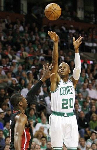 Ray Allen will take less money for a chance at another NBA championship. Allen told the Miami Heat on Friday night that he intends to accept their contract offer and leave Boston after five seasons, even though the Celtics could pay him about twice as much as the reigning NBA champions will be able to next season. Miami could only offer Allen the mini mid-level, worth about $3 million a year.