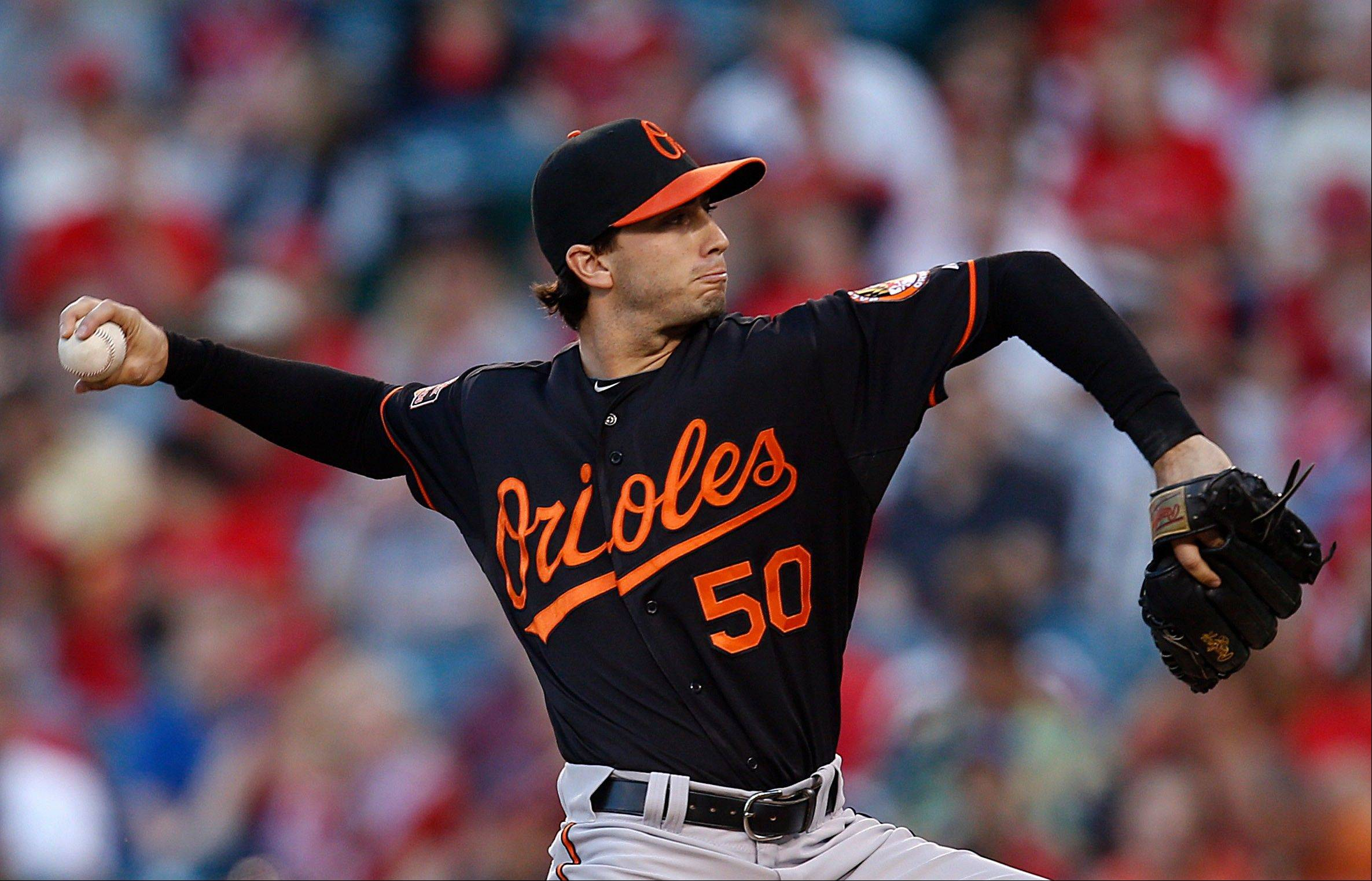 Baltimore's Miguel Gonzalez yielded three hits and a run while striking out six to win his first major league start Friday in Anaheim, Calif.