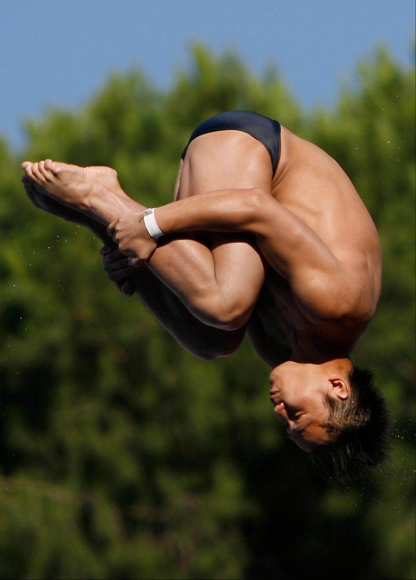 China's Qui Bo performs during the men's 10-meter platform diving event at the FINA Swimming World Championships in Rome in 2009. The Chinese diver, competing in his first Olympics, is the likely favorite in the event in London.