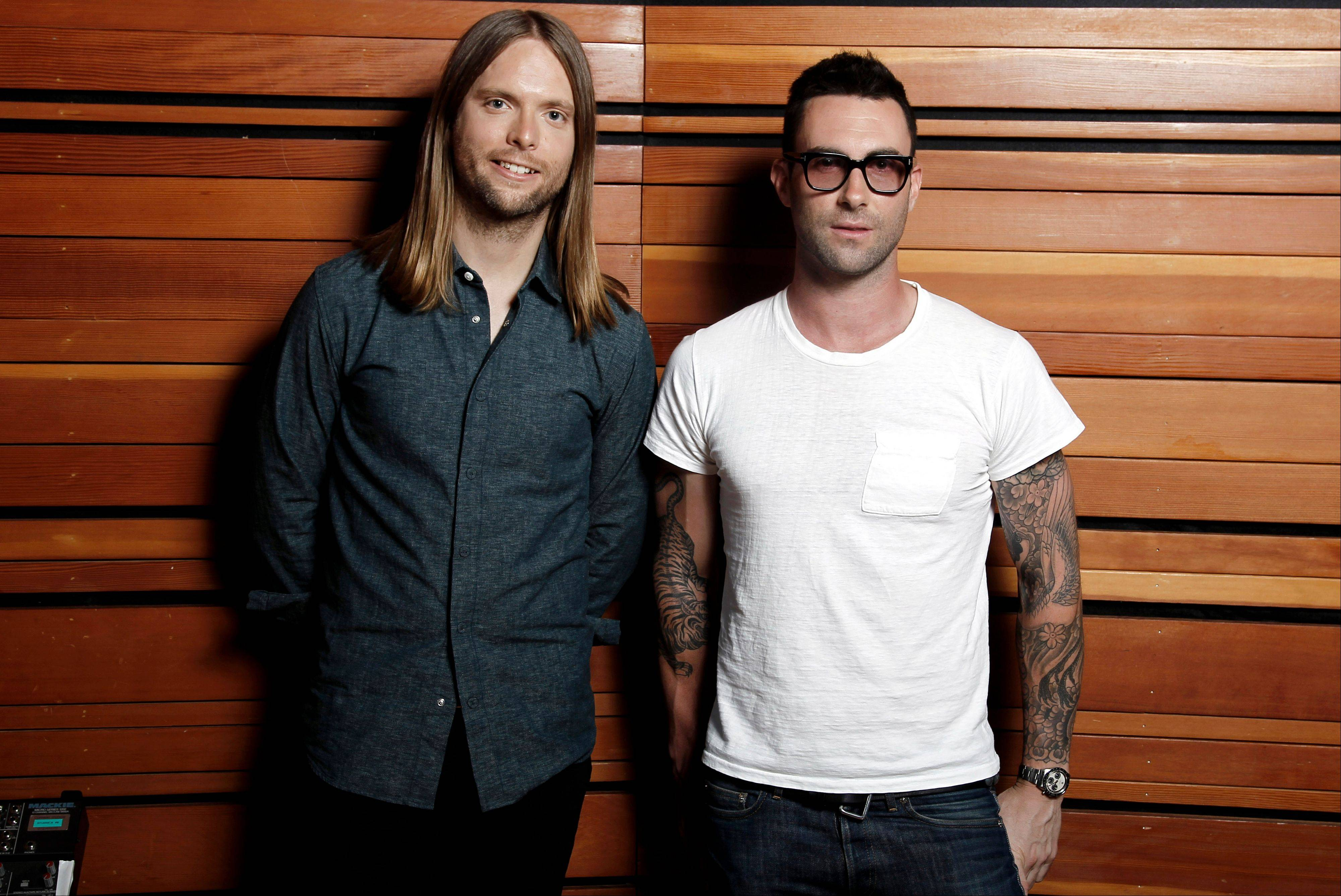 "Maroon 5 bandmates Adam Levine, right, and James Valentine say their hit ""Moves Like Jagger"" is taking the band in new directions."