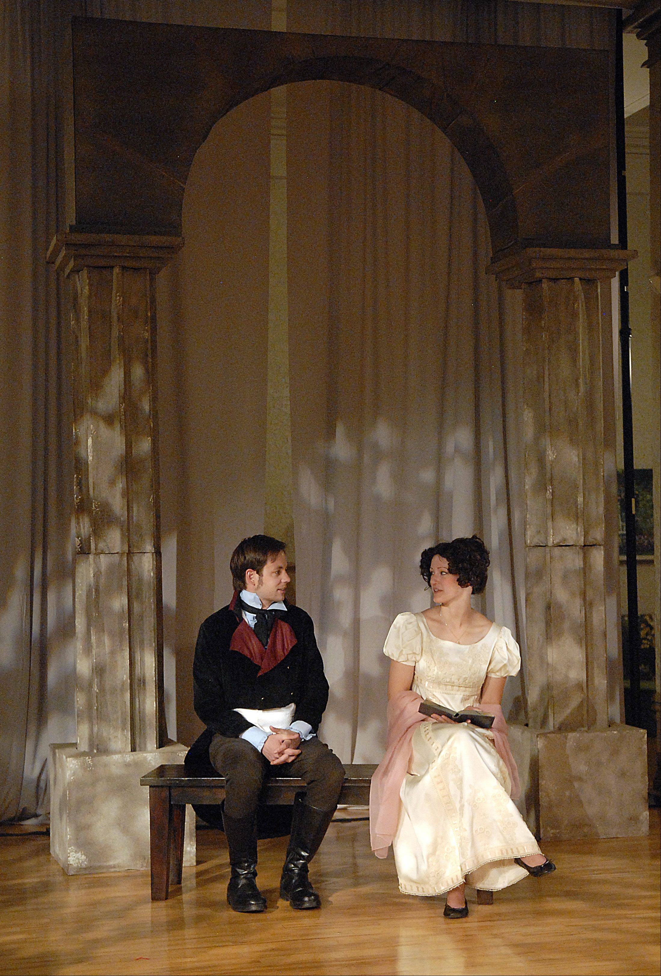 "Robert Richardson plays Mr. Darcy and Cady Leinicke plays Elizabeth Bennet in Janus Theater Company's production of Jane Austen's ""Pride and Prejudice,"" running in repertory with Shakespeare's ""Two Gentlemen of Verona."""