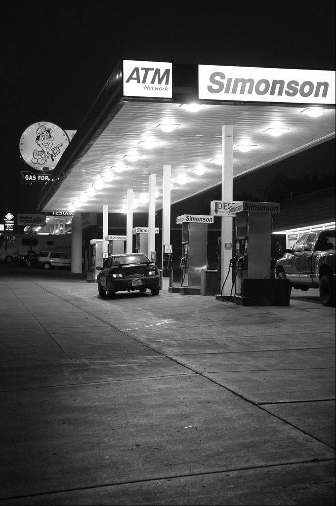 I originally was going for an image of the vintage gas station sign. However, I liked the patterns of the gas pumps, the light and the way the sign appears in the left hand corner.