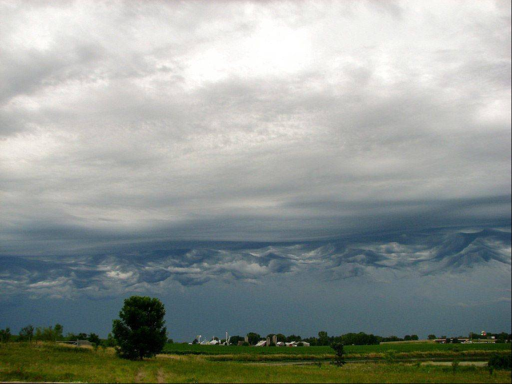 Ominous clouds look like mountains on the horizon of Rockford last week.