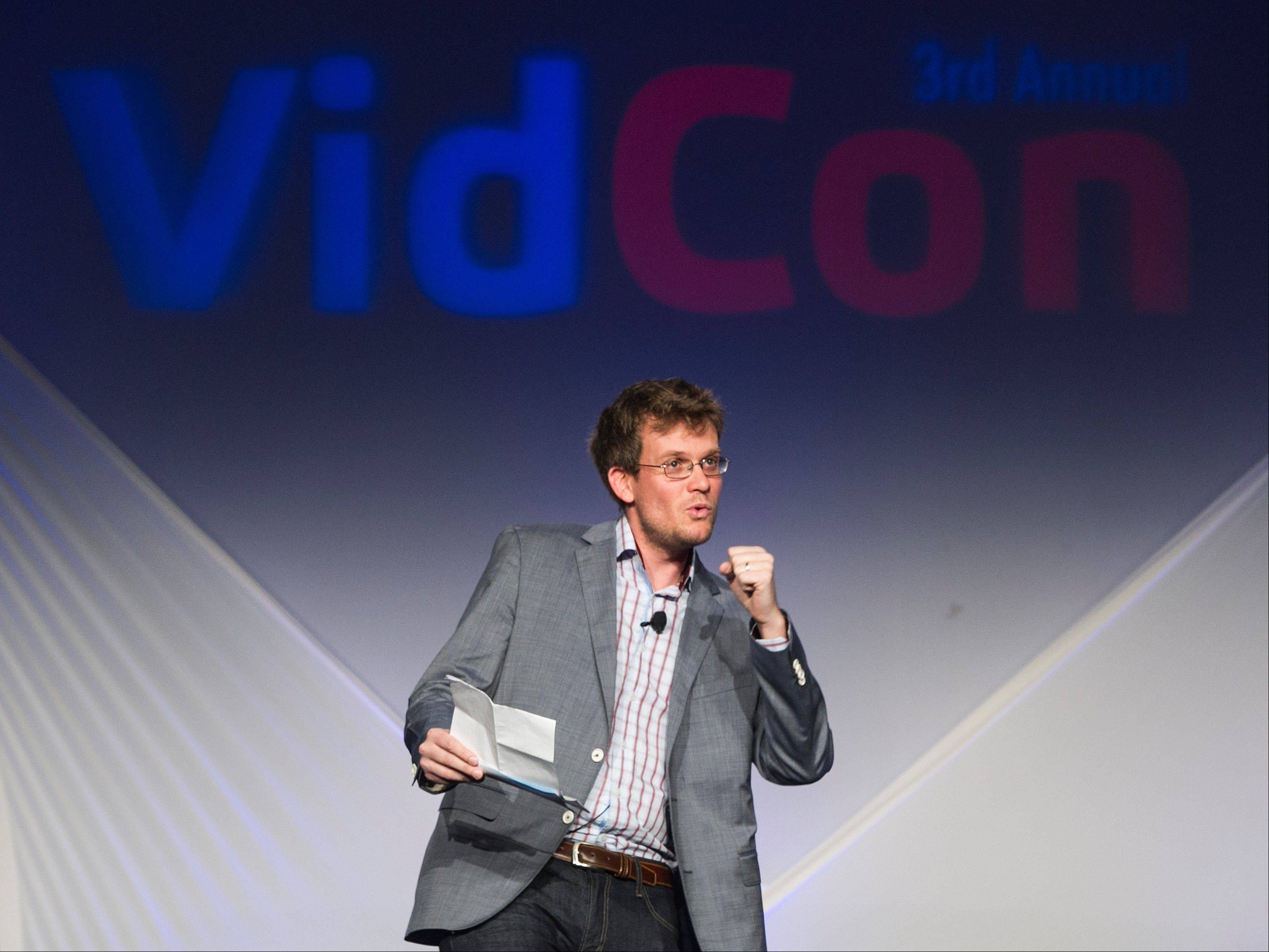 VidCon co-founder, author John Green delivers the opening address for the third annual VidCon conference and community gathering for online video in Anaheim, Calif.