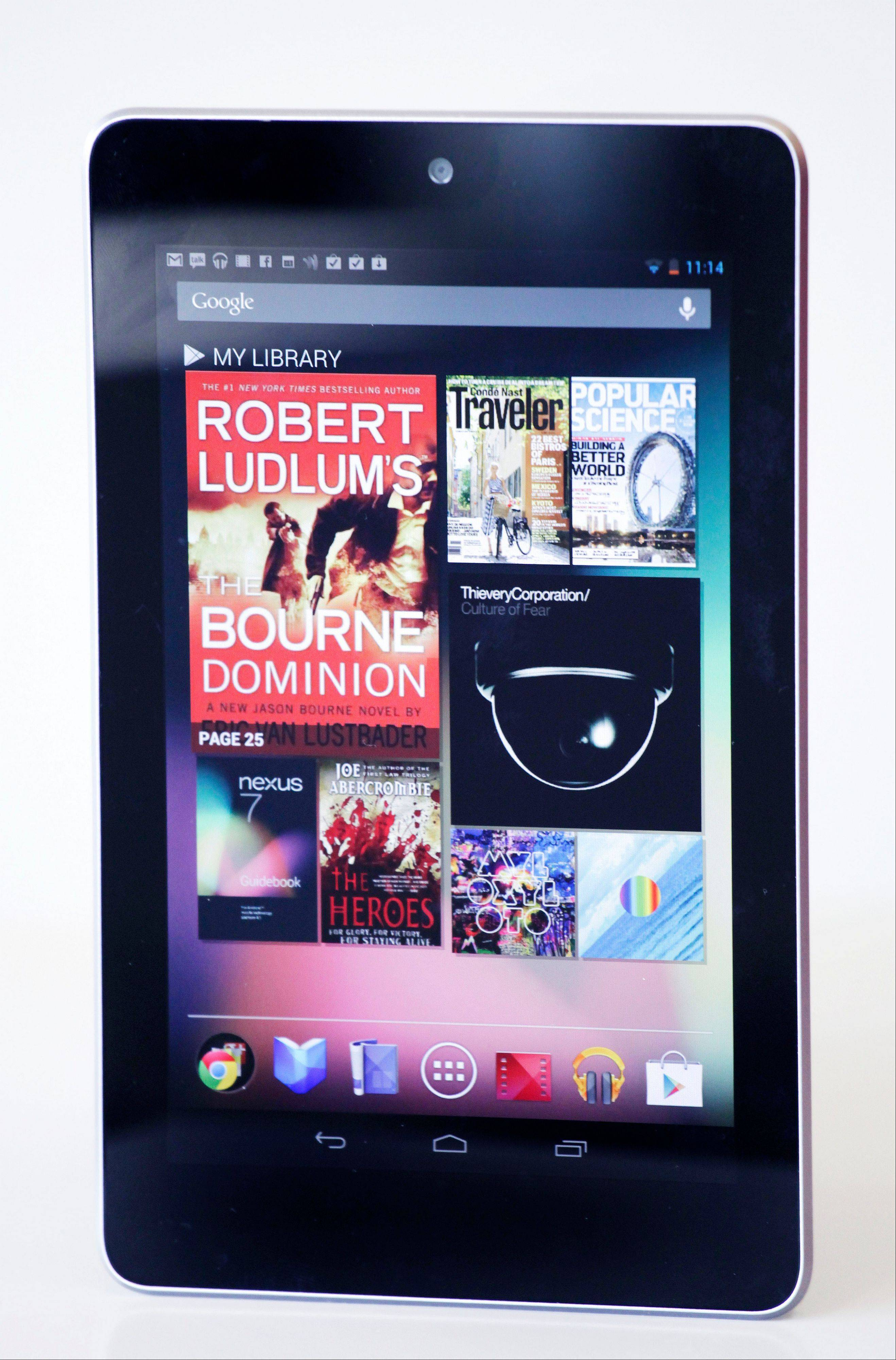 The Google Nexus 7 tablet is shown on June 29 in New York. The Nexus 7 costs $199, the same that Amazon and Barnes & Noble charge for their tablet. Google is taking preorders for delivery in mid-July.
