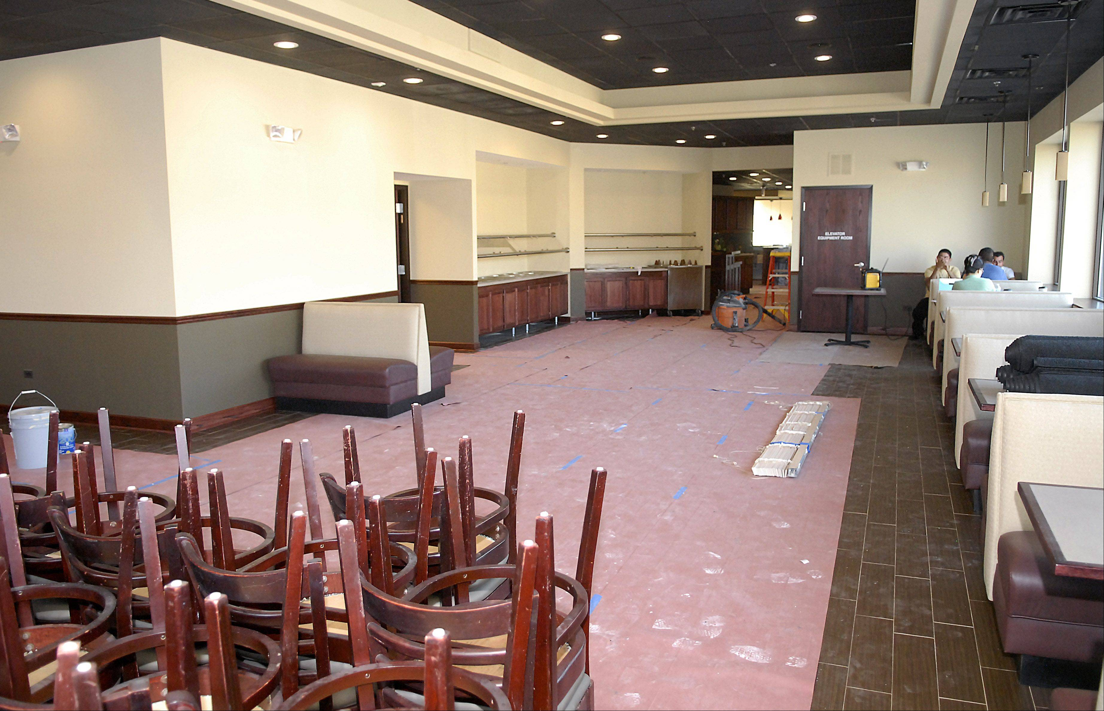 The main dining area of the Szechwan Restaurant in downtown St. Charles will be slightly larger when the business reopens, which is expected next week.