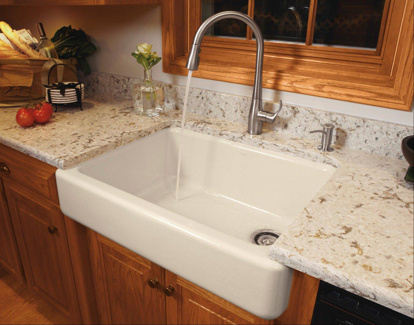 Cast-iron, apron front kitchen sinks can be a nice choice since most cast-iron plumbing fixtures contain recycled materials. Some manufacturers have expanded color choices to include more natural colors.