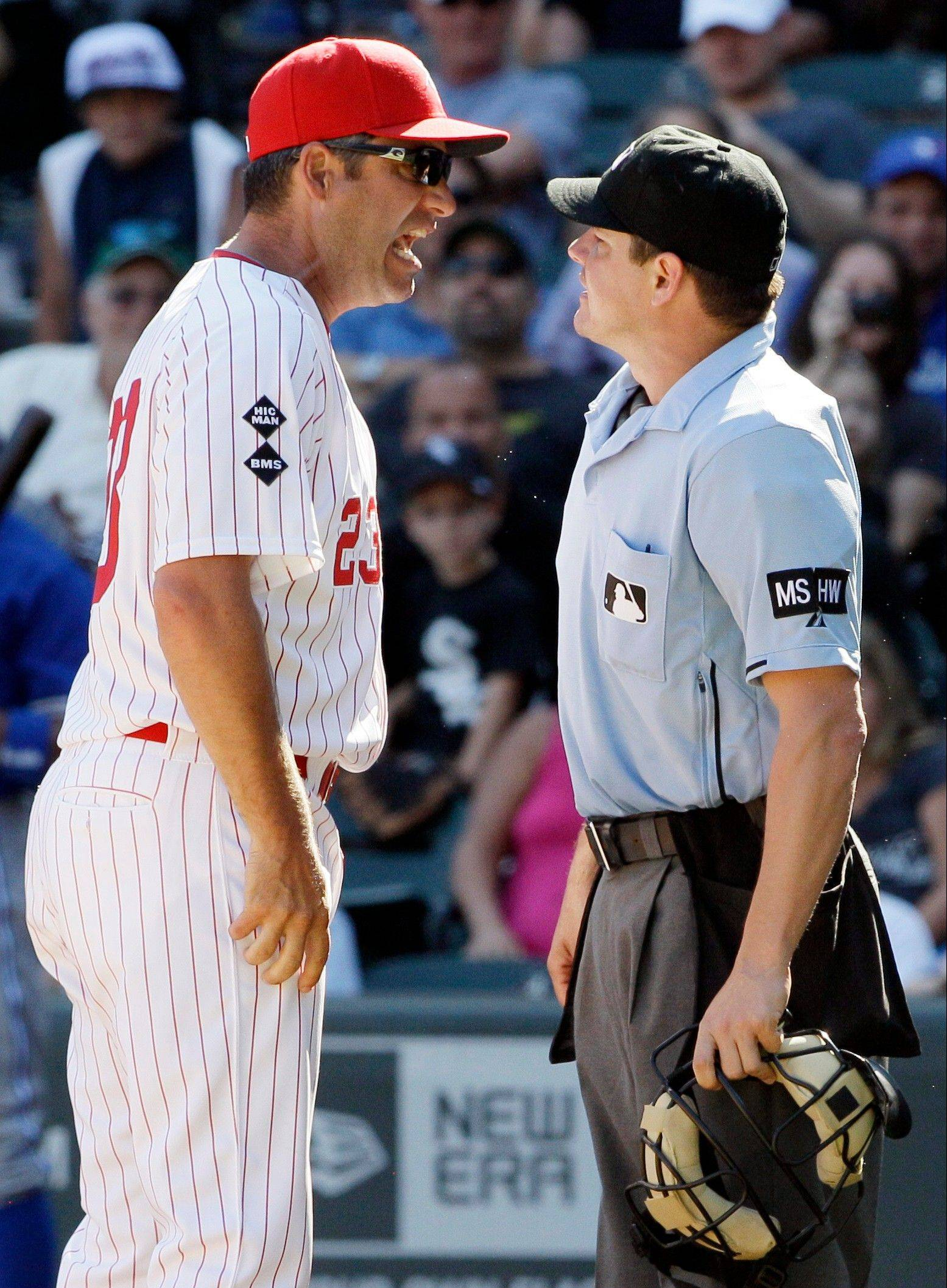 White Sox manager Robin Ventura is about to be ejected by home plate umpire D.J. Reyburn for arguing in the ninth inning Sunday at U.S. Cellular Field.