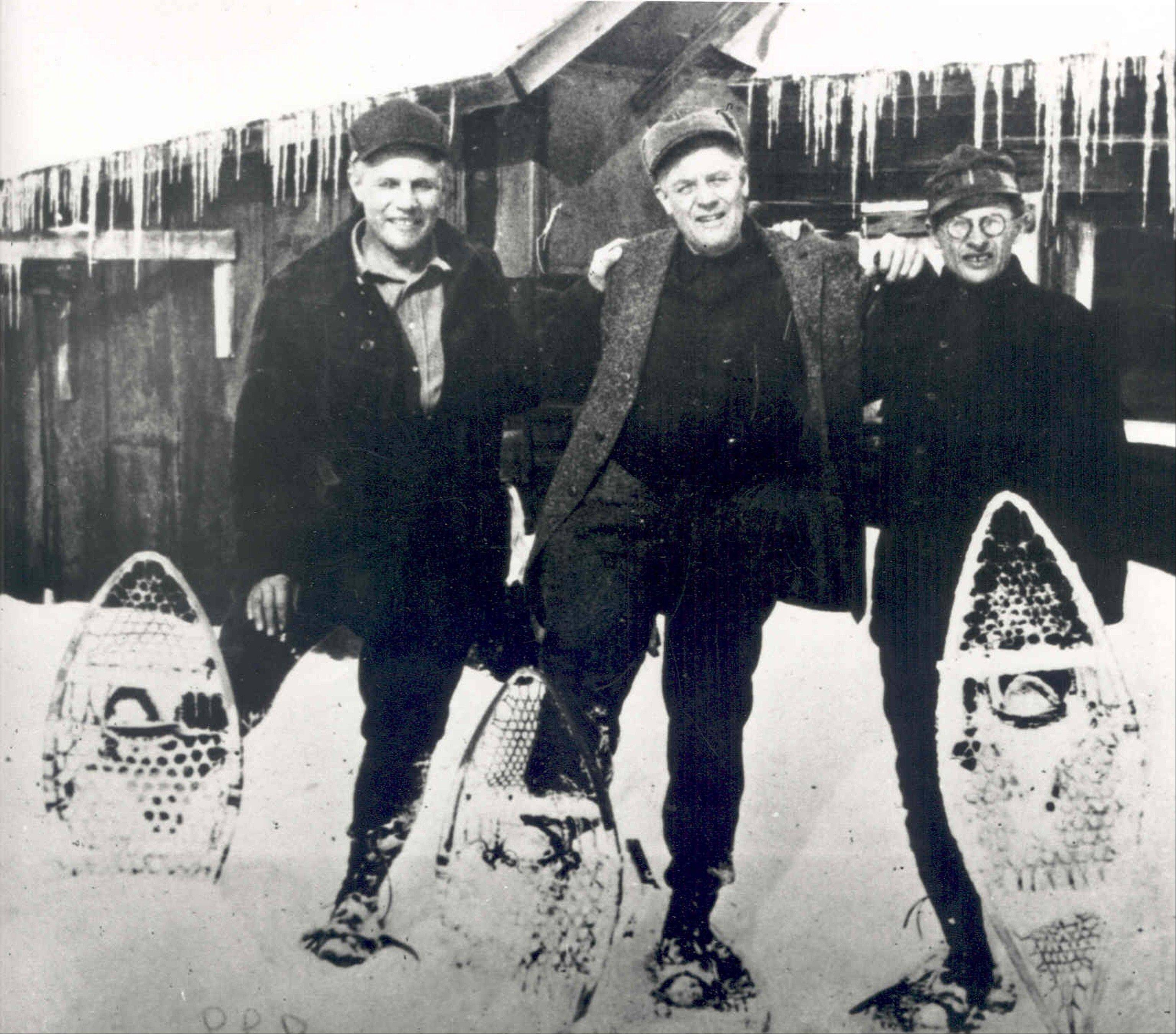 Leon L. Bean, left, stands in snowshoes with his brothers Otho, center, and Guy in 1923. Leon Gorman, L.L.'s grandson, said he was told that his grandfather was born Leon Linwood Bean and that his name somehow morphed into Leon Leonwood Bean.