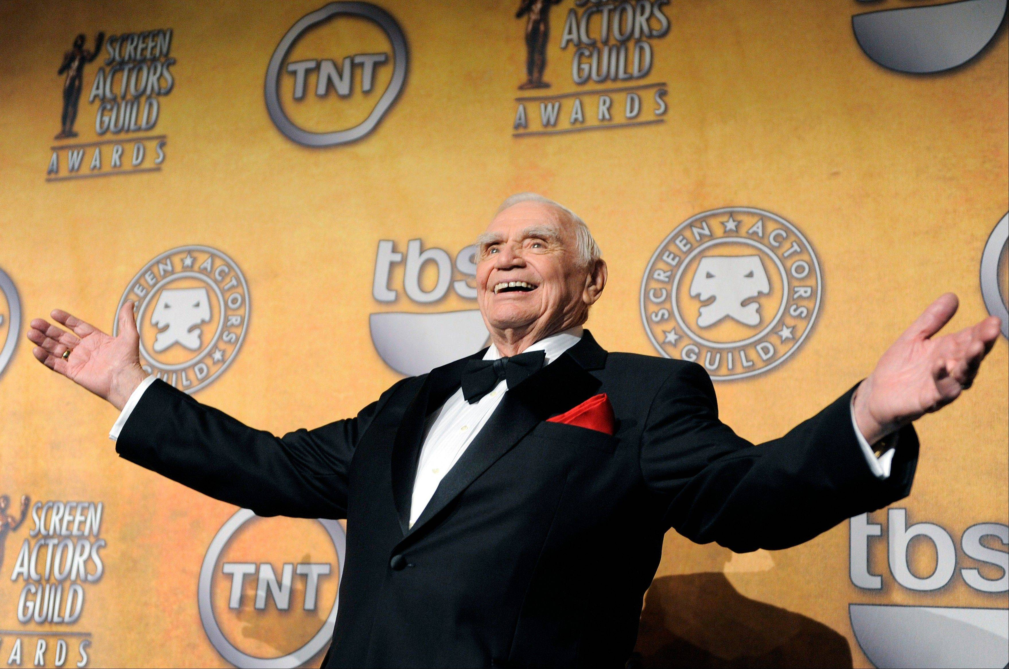 FILE - In this Jan. 30, 2011, file photo, Ernest Borgnine poses backstage after receiving the life achievement award at the 17th Annual Screen Actors Guild Awards in Los Angeles. A spokesman said Sunday, July 8, 2012, that Borgnine has died at the age of 95.