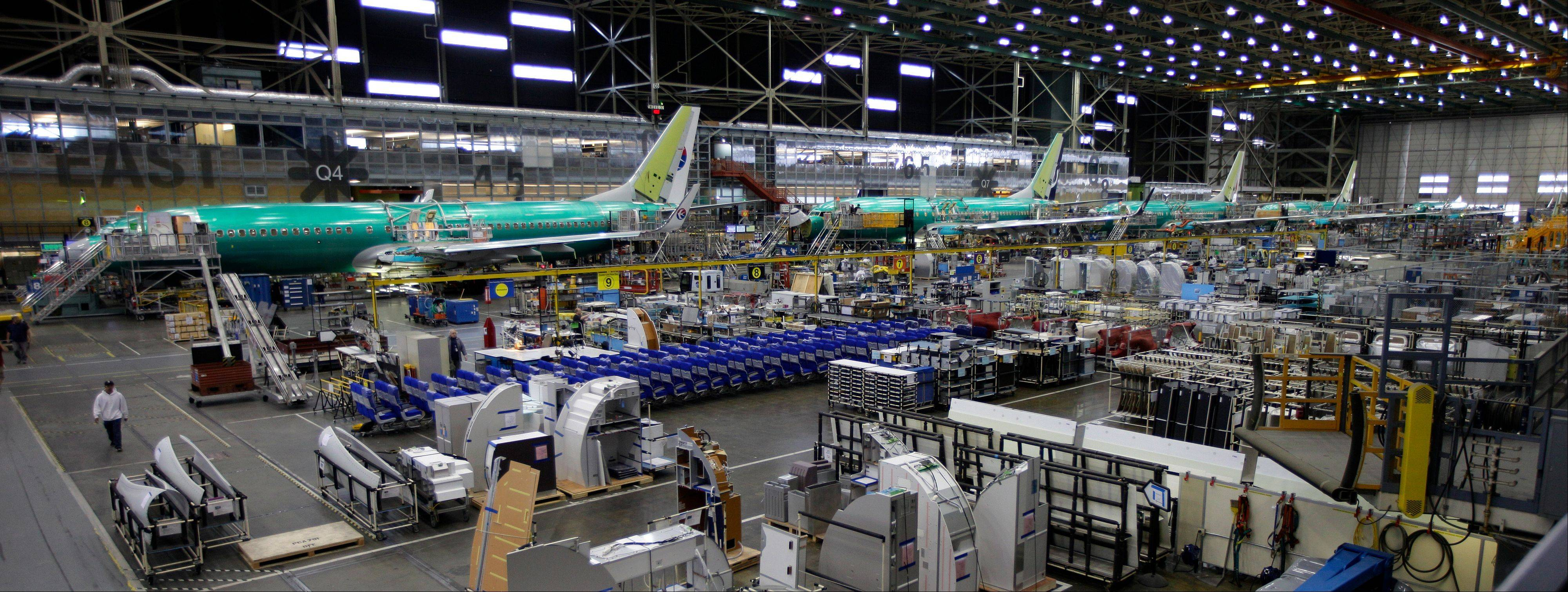 ASSOCIATED PRESS The Boeing 737 assembly line in Renton, Wash., is seen here. Boeing opened the Farnborough Airshow Monday by announcing the sale to Air Lease Corp. of 75 of its 737 aircraft for a total of $7.2 billion, at least at sticker price.