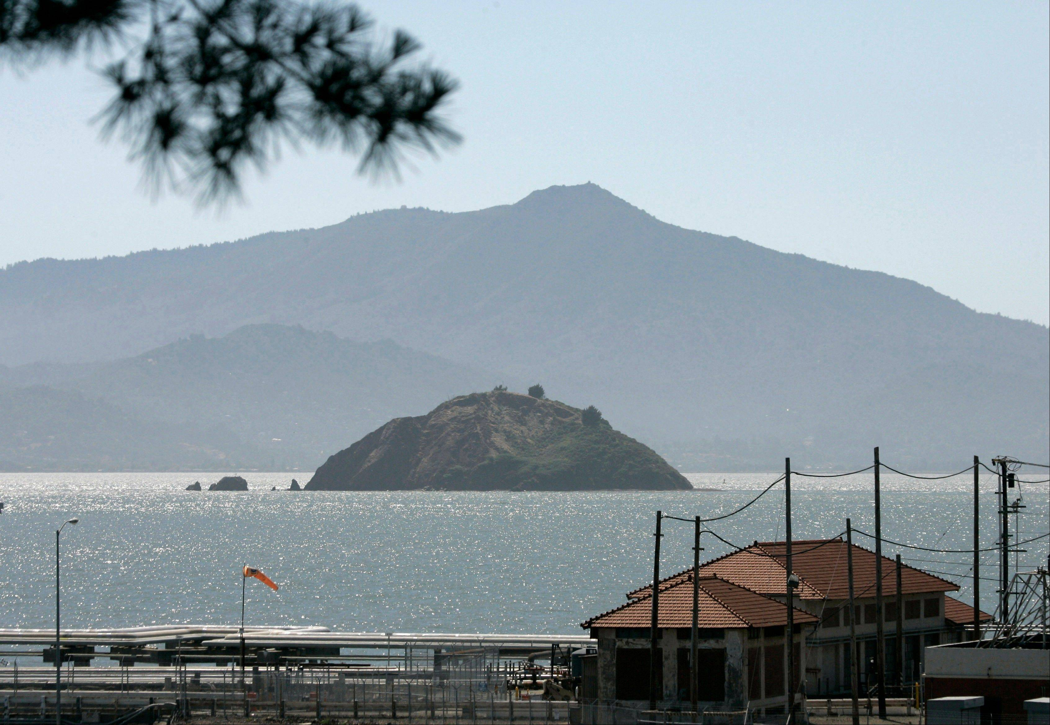 Red Rock Island with Mount Tamalpais in the background from Point Richmond, Calif.