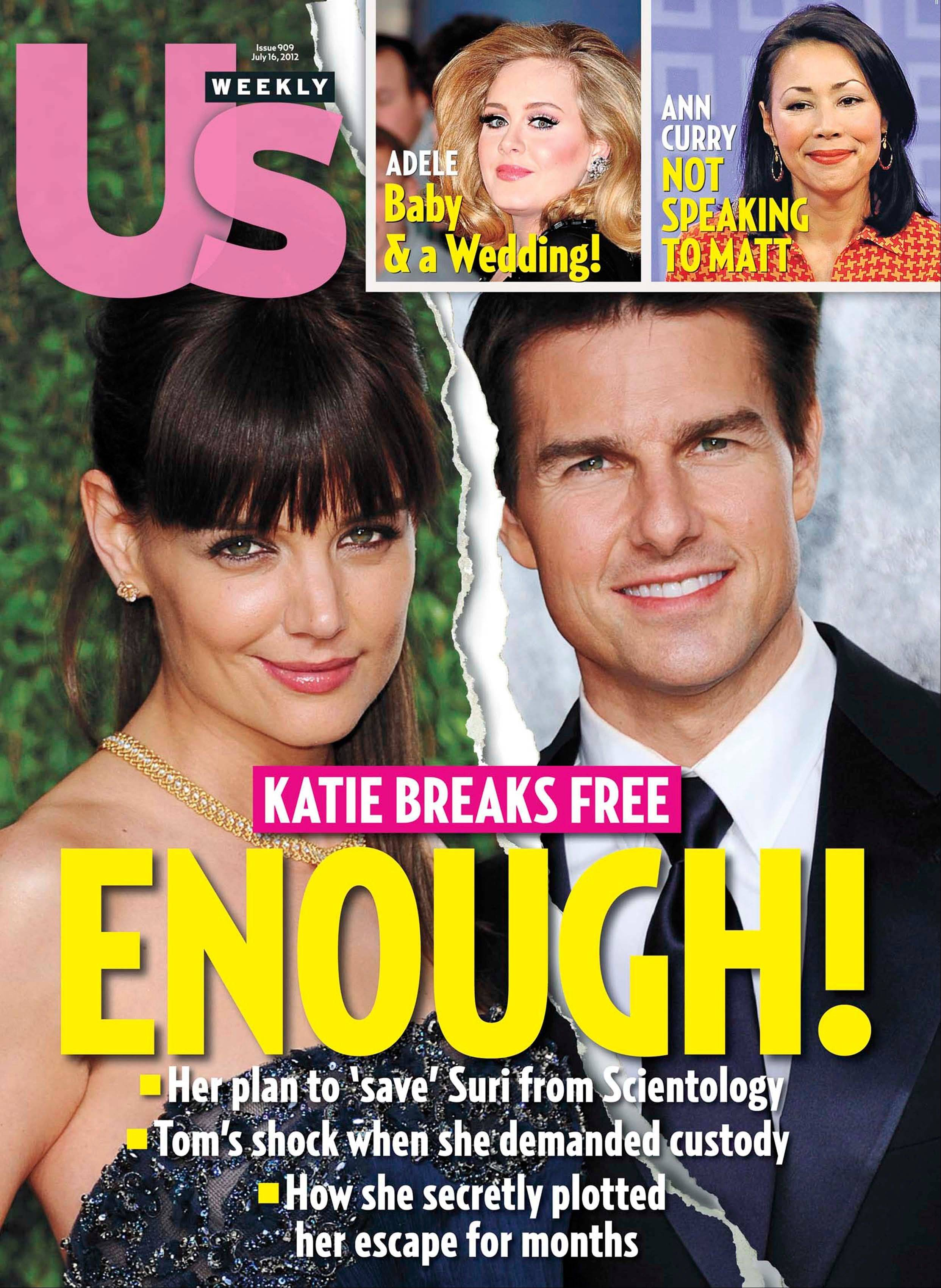 The cover of US Weekly magazine features the divorce of actors Katie Holmes and Tom Cruise.