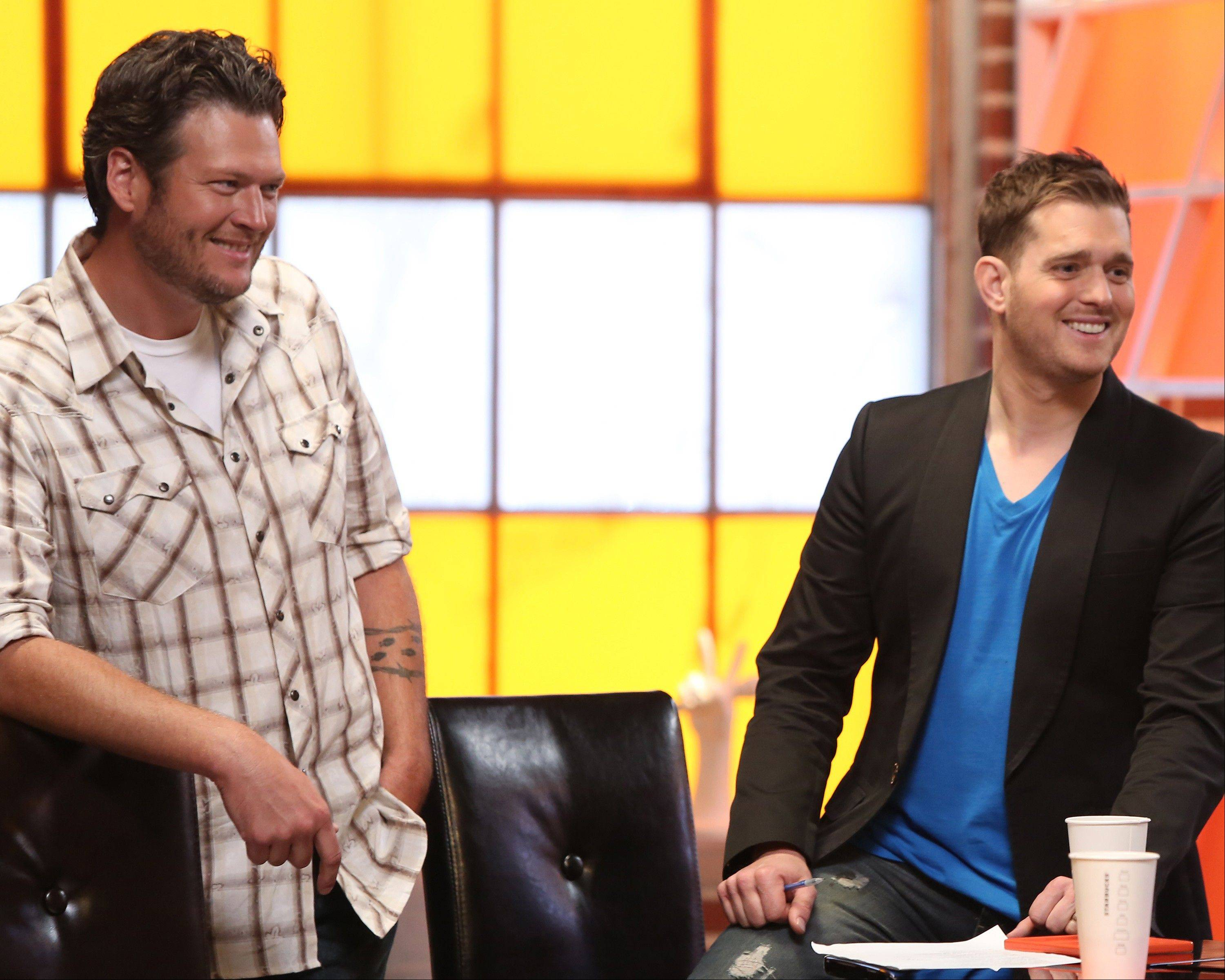 "Blake Shelton, left, and Michael Buble on the set of NBC's ""The Voice"" in Los Angeles. Michael Buble will act as adviser to Blake Sheltonís team of contestants."
