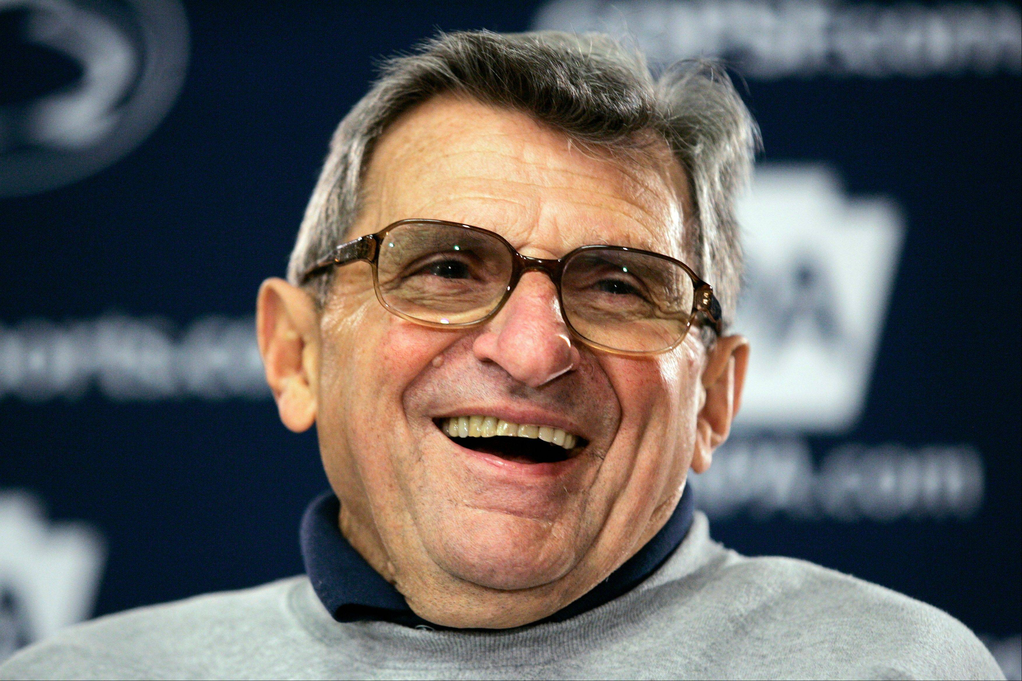 "The family of former Penn State football coach Joe Paterno said Tuesday that Paterno, seen here, did not know former assistant coach Jerry Sandusky was a pedophile and that Sandusky was a ""master deceiver."""