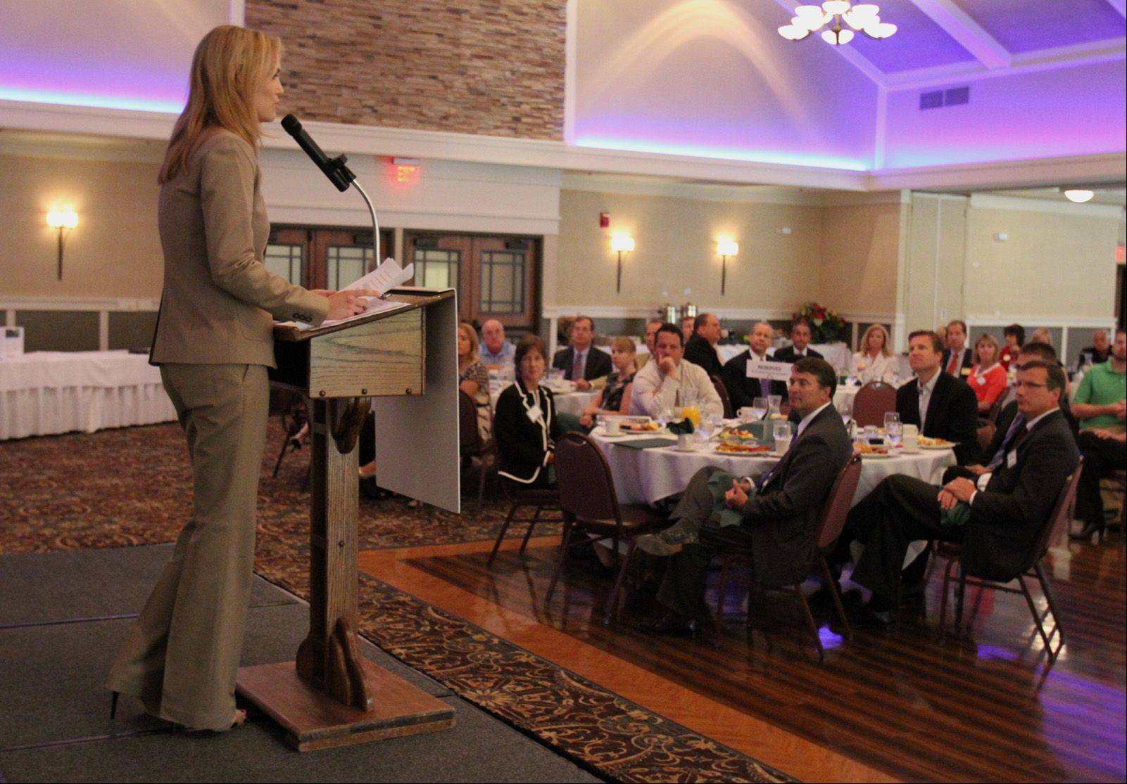 New Schaumburg Business Association President Kaili Harding speaks Tuesday during the association's monthly Good Morning Schaumburg breakfast. Harding took over as the association's president last month.