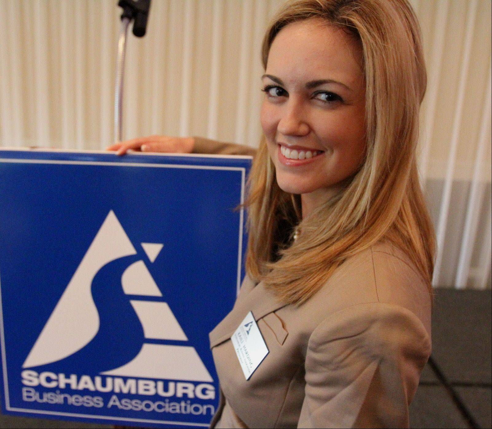 New Schaumburg Business Association President Kaili Harding at the association's monthly Good Morning Schaumburg breakfast. Harding took over as the association's president last month.