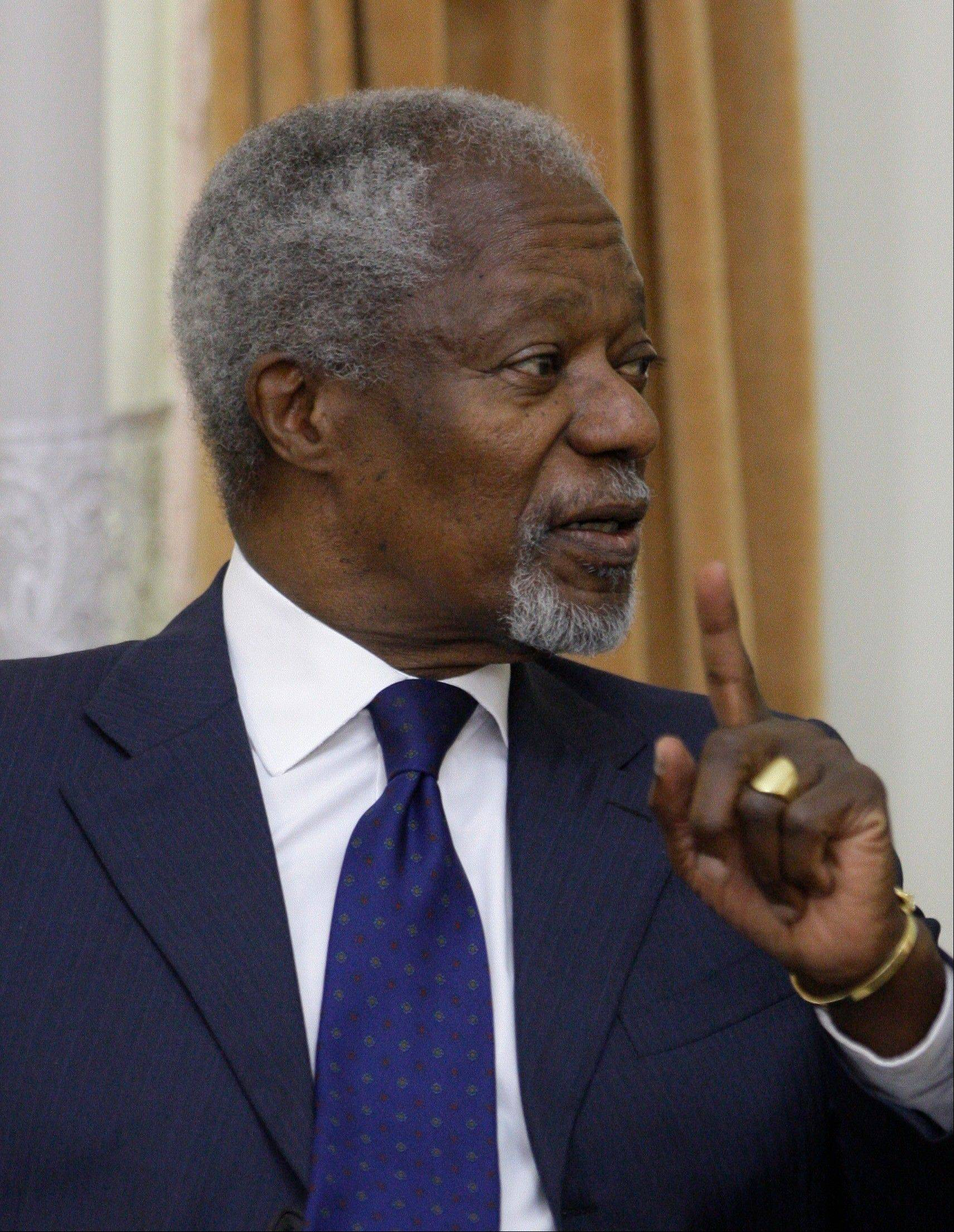 International envoy Kofi Annan, speaks with secretary of Iran's Supreme National Security Council, S