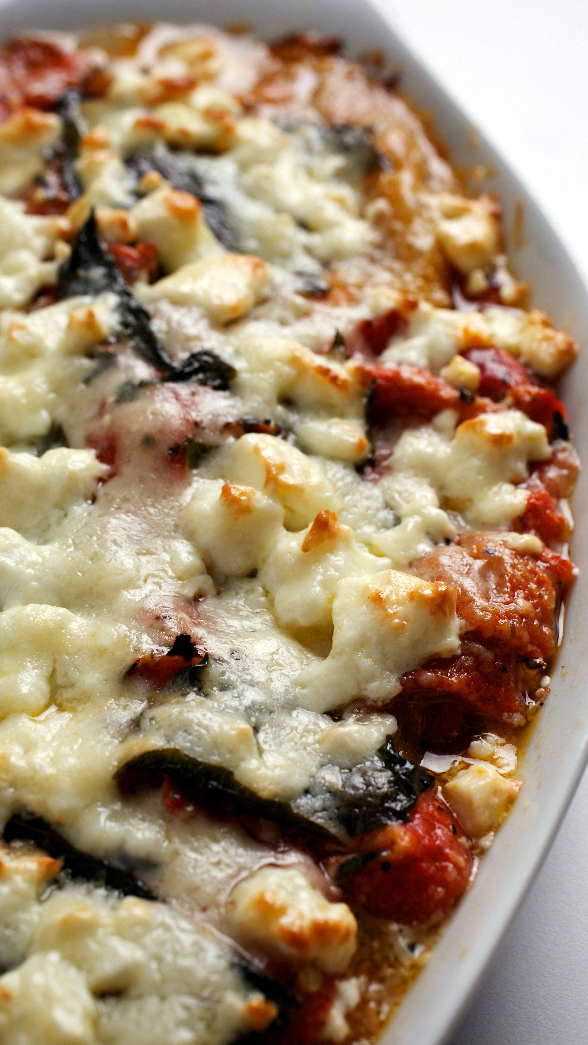 Gratin of Roasted Peppers, Basil and Feta