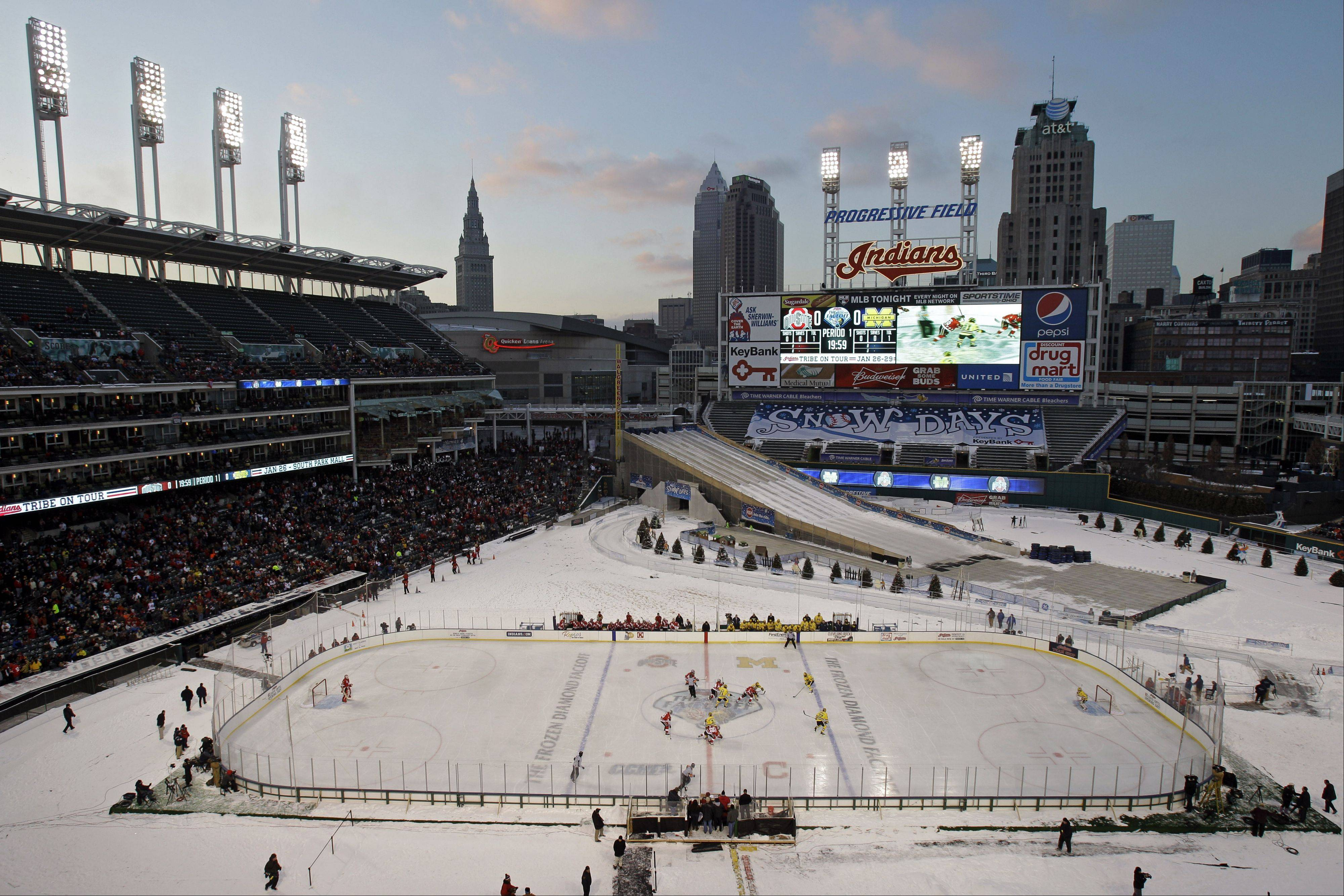 Last January, Michigan and Ohio State played an outdoor college hockey game in Cleveland. Next February, Soldier Field with host four college men's teams for two games billed as the Hockey City Classic. Wisconsin will play Minnesota, and Notre Dame will play Miami (Ohio).