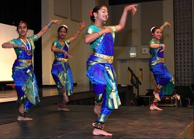 Students of Mudra Dance Academy of Palatine perform Bhartanatyam dance at the FCN 10th anniversary ceremony at St. James Catholic Church in Arlington Heights.