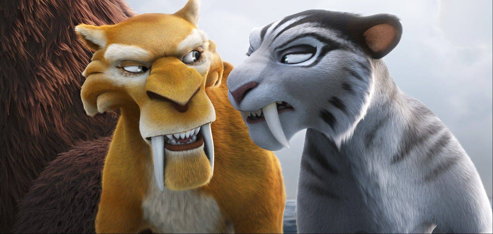 "Diego (Denis Leary) shares a love-hate pussycat relationship with Shira (Jennifer Lopez) in ""Ice Age: Continental Drift."""