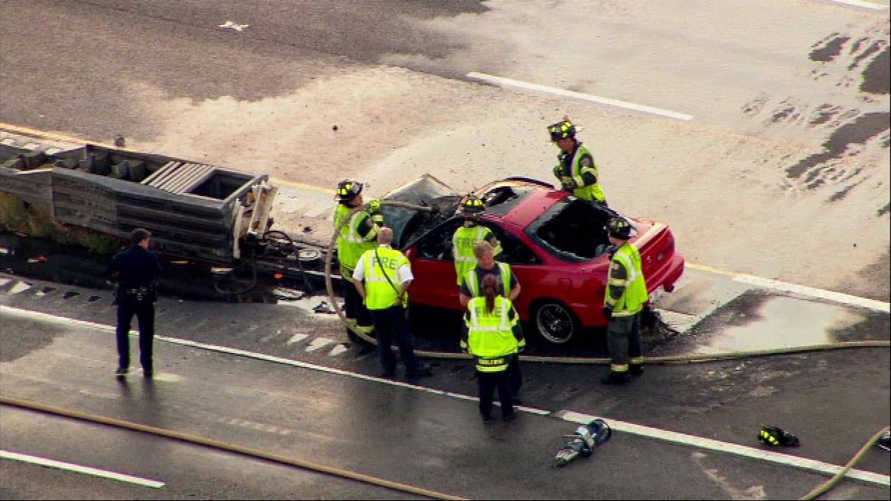 Photo courtesy of ABC-7 Aerial view of the fatal crash on Rt. 53 Thursday morning in Schaumburg.