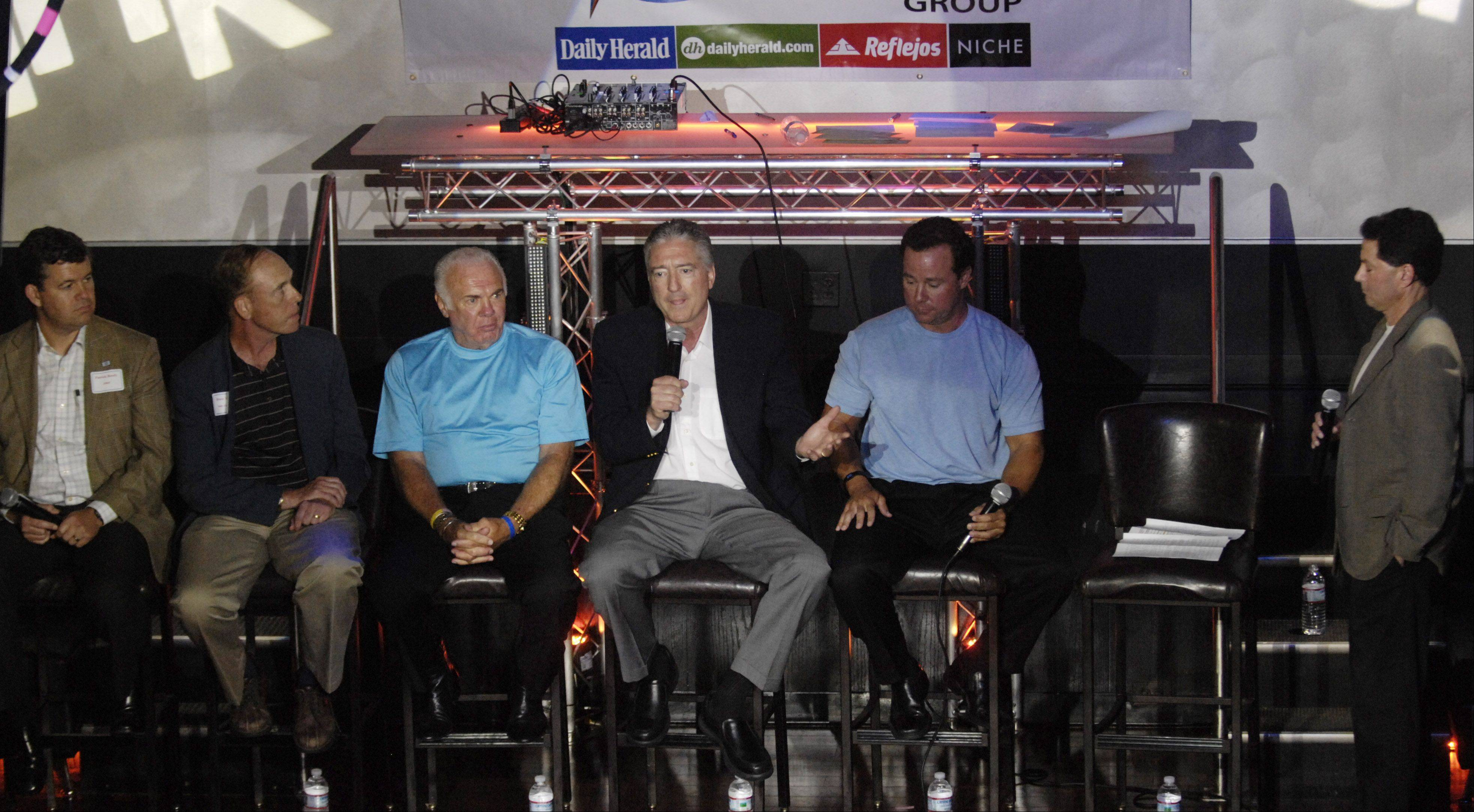 WGN/Cubs radio broadcaster Pat Hughes, speaks during a Subscriber Total Access event celebrating the life of Ron Santo, at Drink Nightclub in Schaumburg Thursday.