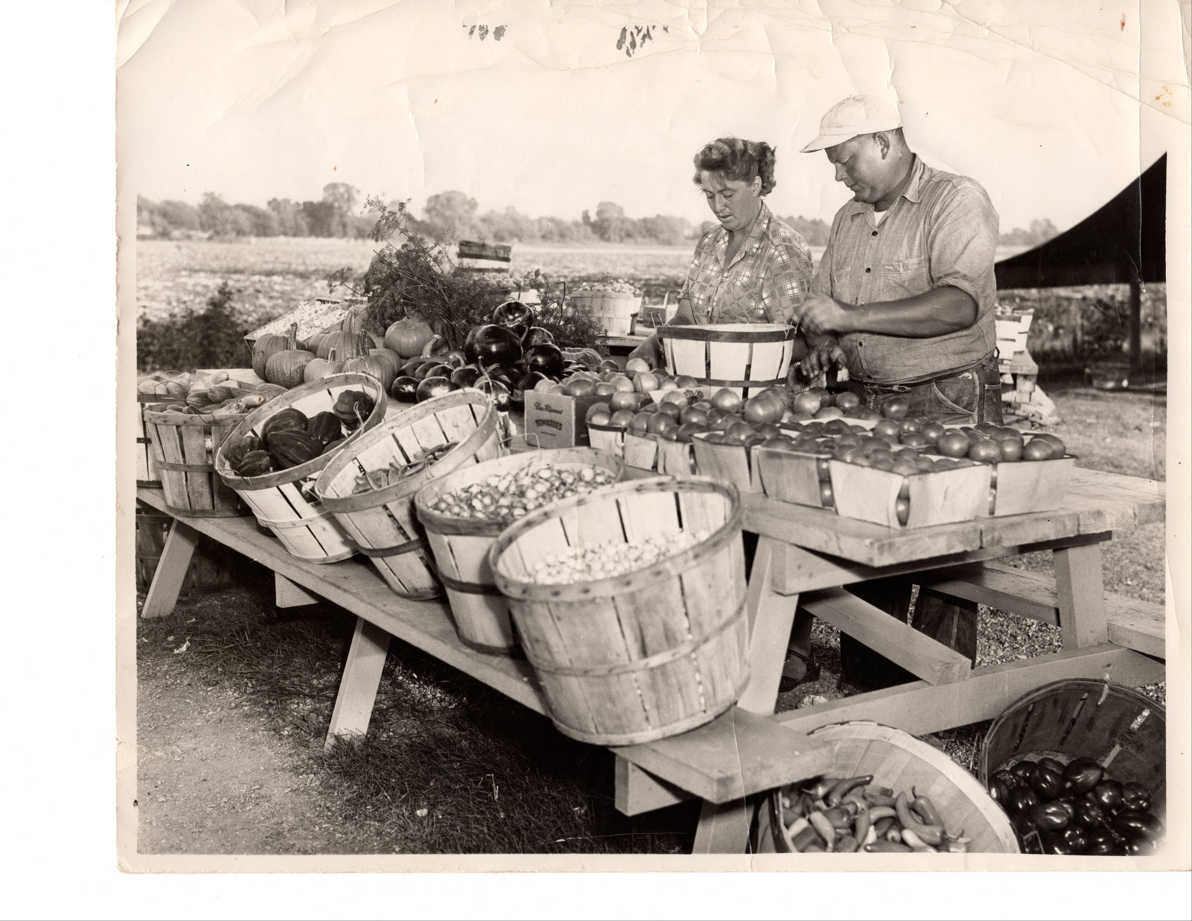 Erna and Andrew Koeppen work the farmstand at 327 W. Dundee Road, Wheeling in the 1940s.