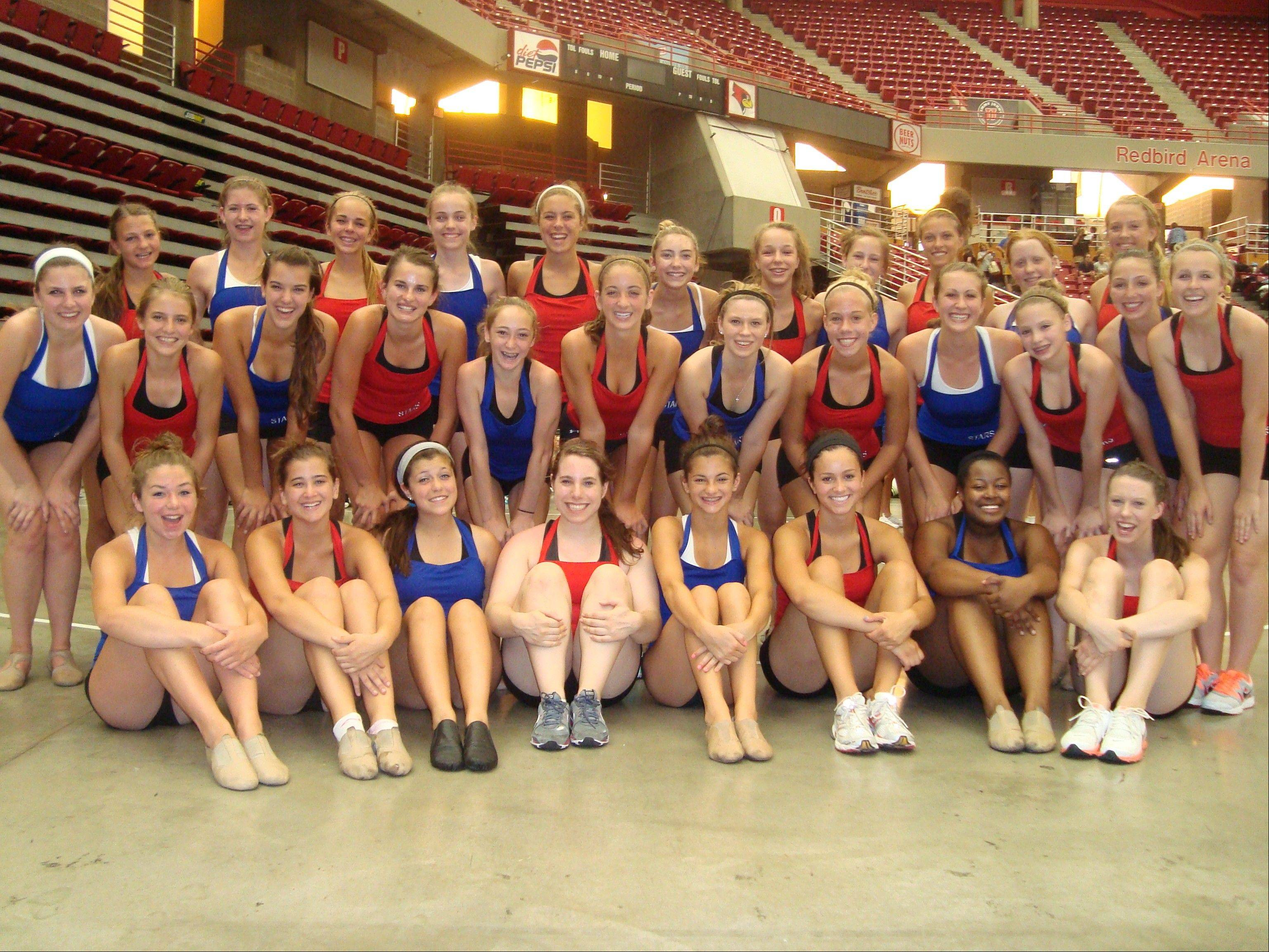 The St. Charles North varsity and junior varsity drill teams recently competed with teams across the country at the Universal Dance Association camp. The team includes, first row, from left, Hanna Dennis, MaryKate Purcell, Julia Arroyo, Allie Isabelli, Ally Hursh, Monique Perdue, Eleisse Pettigrew, and Jamie Beaulieu; middle row, Lexi Artman, Quinn Samanic, Kaleigh Bull, Michelle Vezina, Anna Marie Vivirito, Lindsey Niemann, Nikki Arnold, Megan Spaniol, Kassi Ams, Isabel Miller, Lexi Zocher, and Lindsey Wehking; and back row, Colleen Lullo, Anna Spense, Rachel Zima, Brittany Allen, Alexa Cunningham, Taylor Hoekstra, Audra Stapella, Shelby Kronke, Allyssa Arroyo, Bailey Moberly and Alison Meisenheimer.