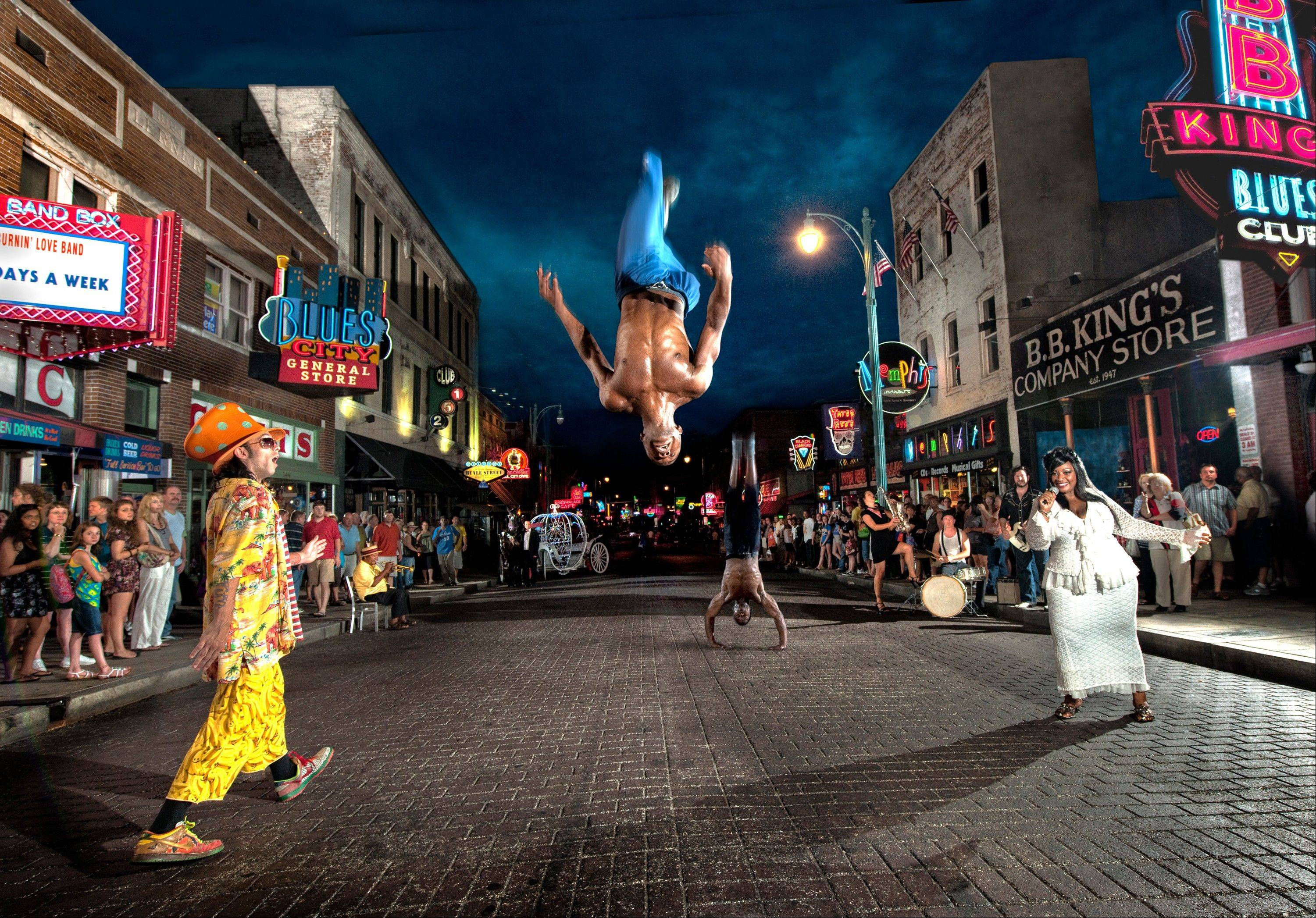 Beale Street is alive day and night with street performers like the Beale Street Flippers.