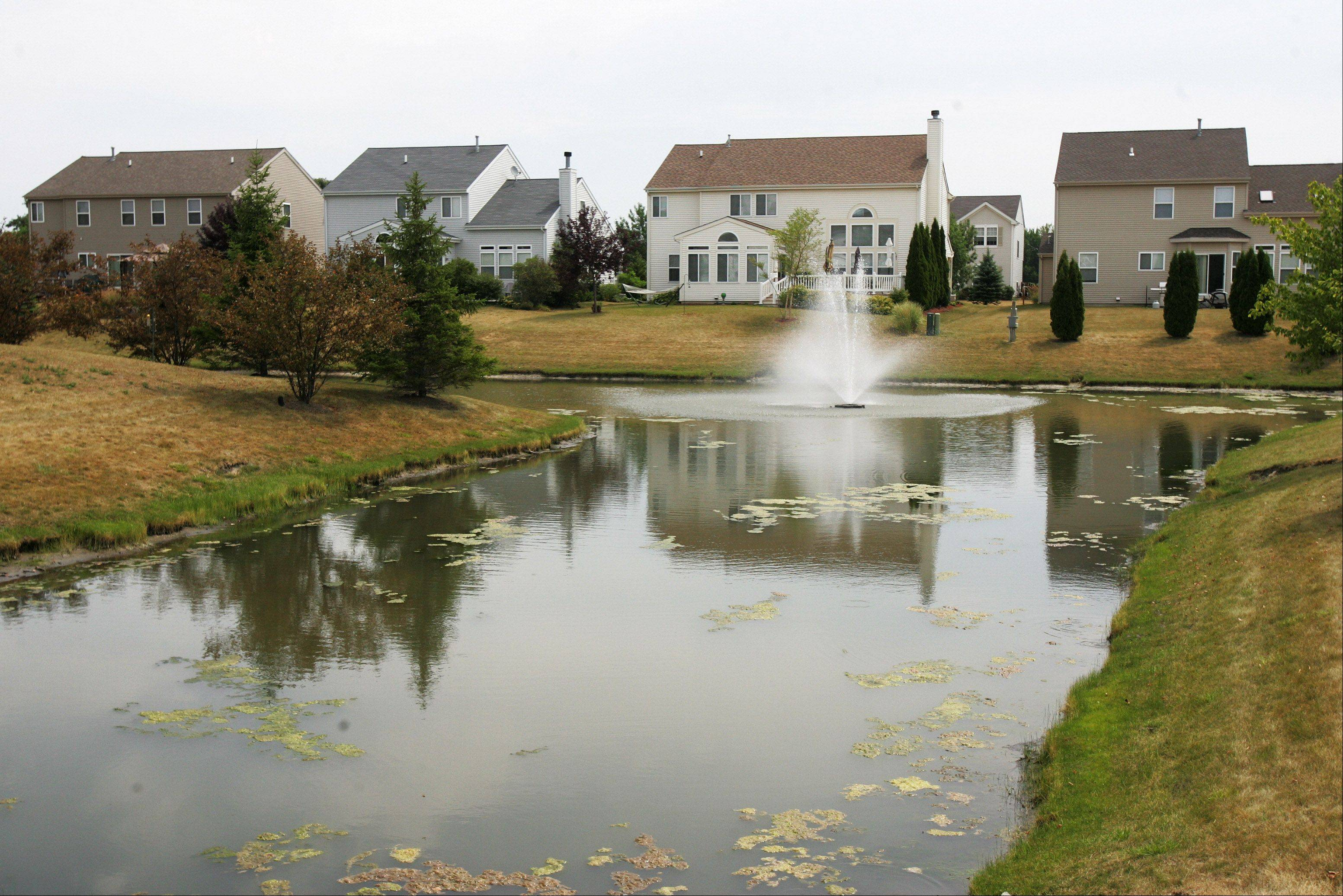Many homes in the neighborhood overlook several ponds.