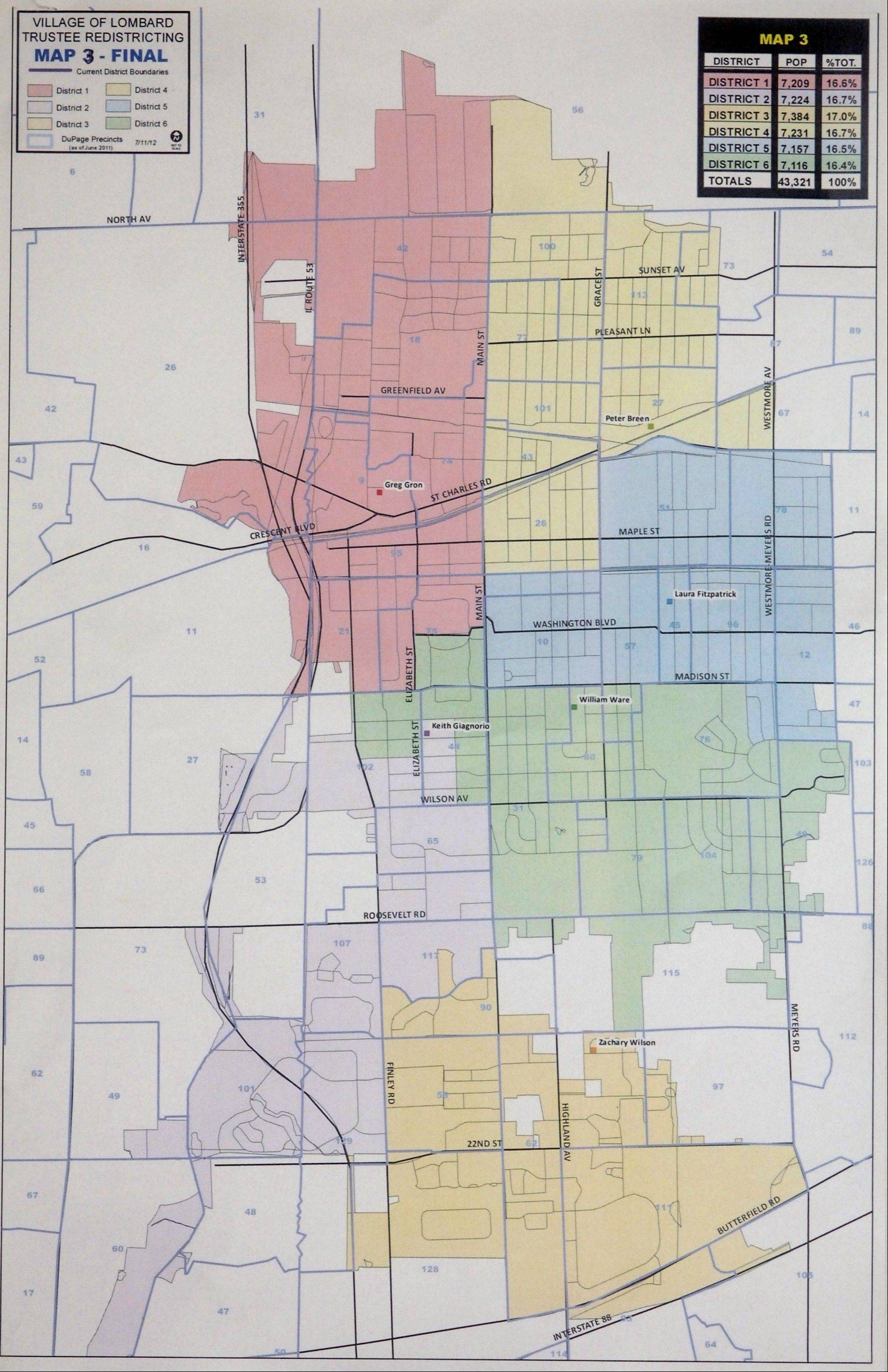 The new district map approved by Lombard trustees after a redistricting process required by the 2010 census balances the village's population while making very few boundary changes. The new map ensures each of the village's six trustees remains in his or her district.