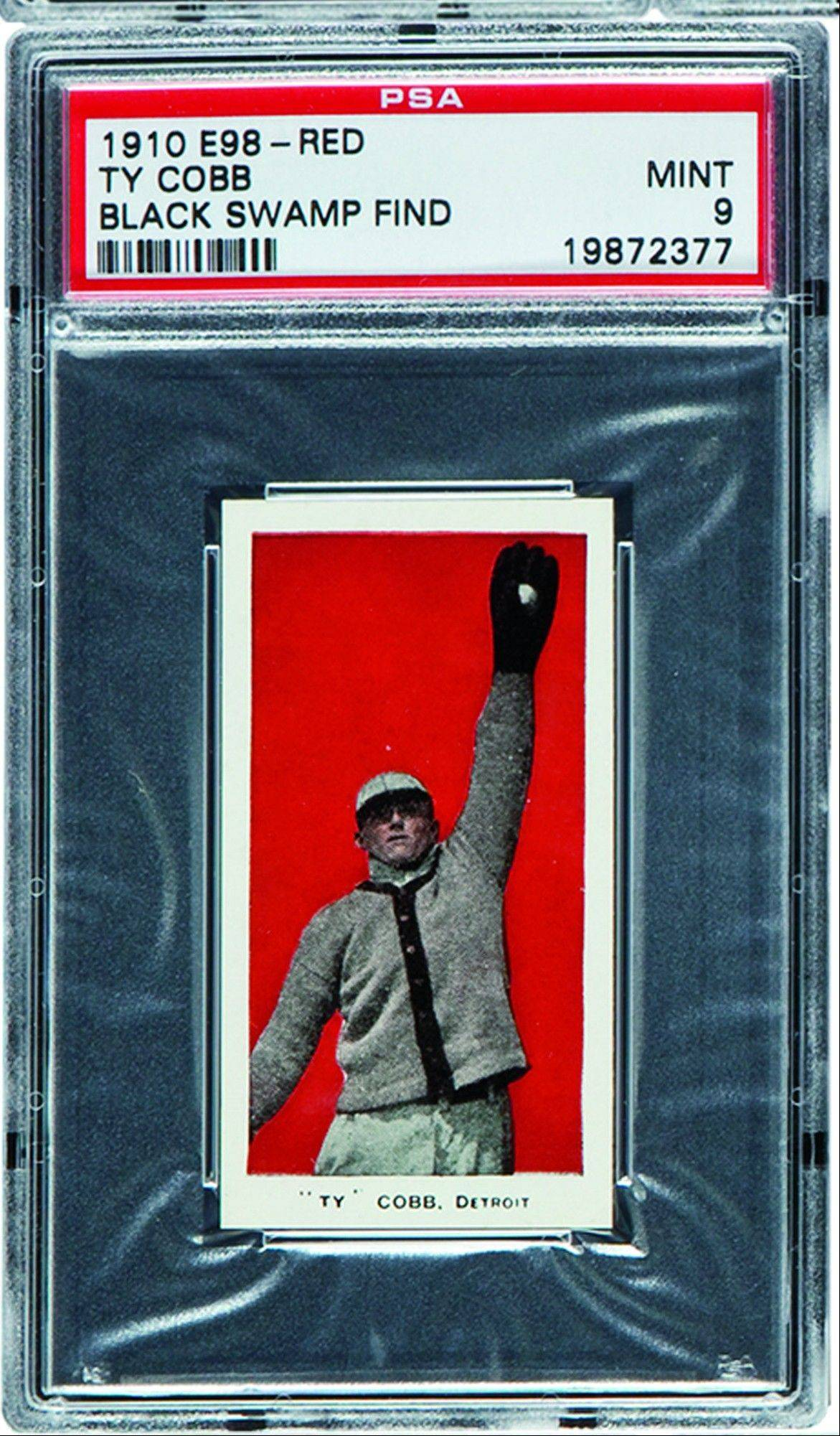 This 1910 E98 Ty Cobb baseball card was found in the attic of a house in Defiance, Ohio, with about 700 others. The best of the bunch -- 37 cards -- are expected to bring a total of $500,000 when they are sold at auction in August.