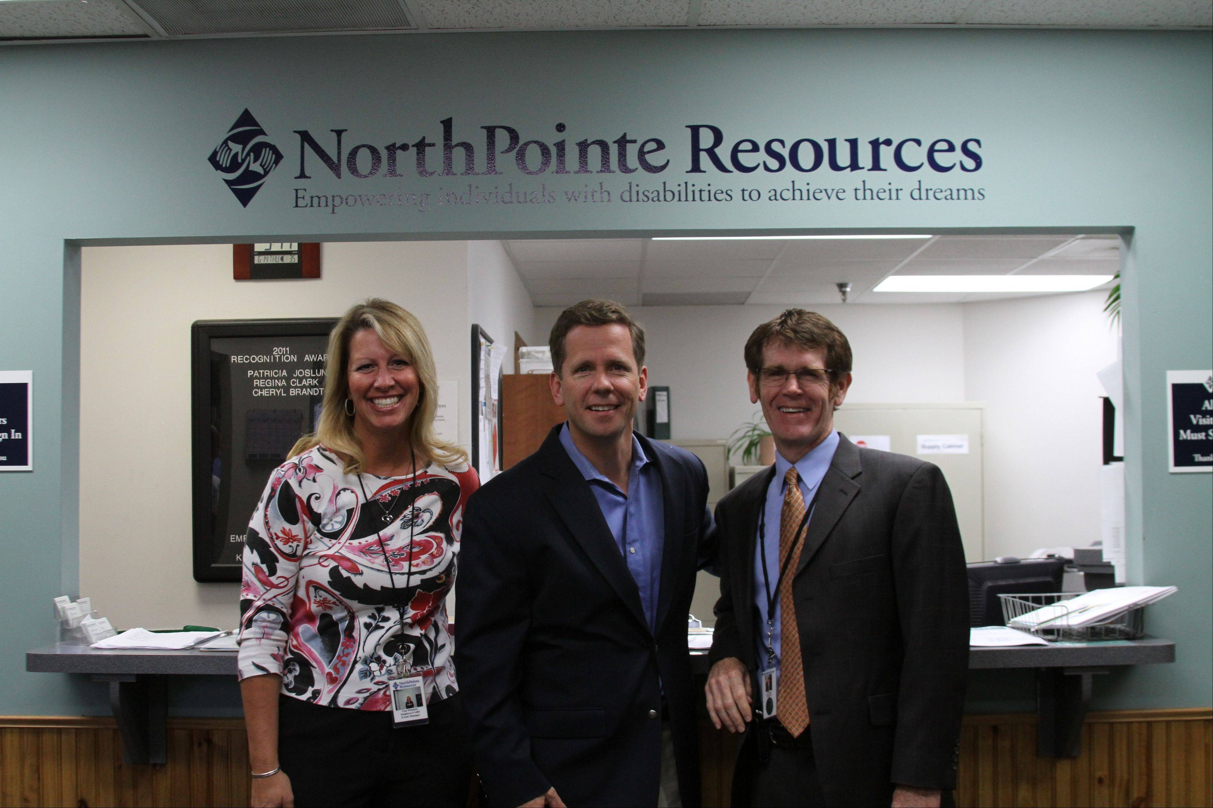 NorthPointe Development Manager Lisa Niemietz, U.S. Rep. Robert Dold and NorthPointe CEO Karl Kopp.